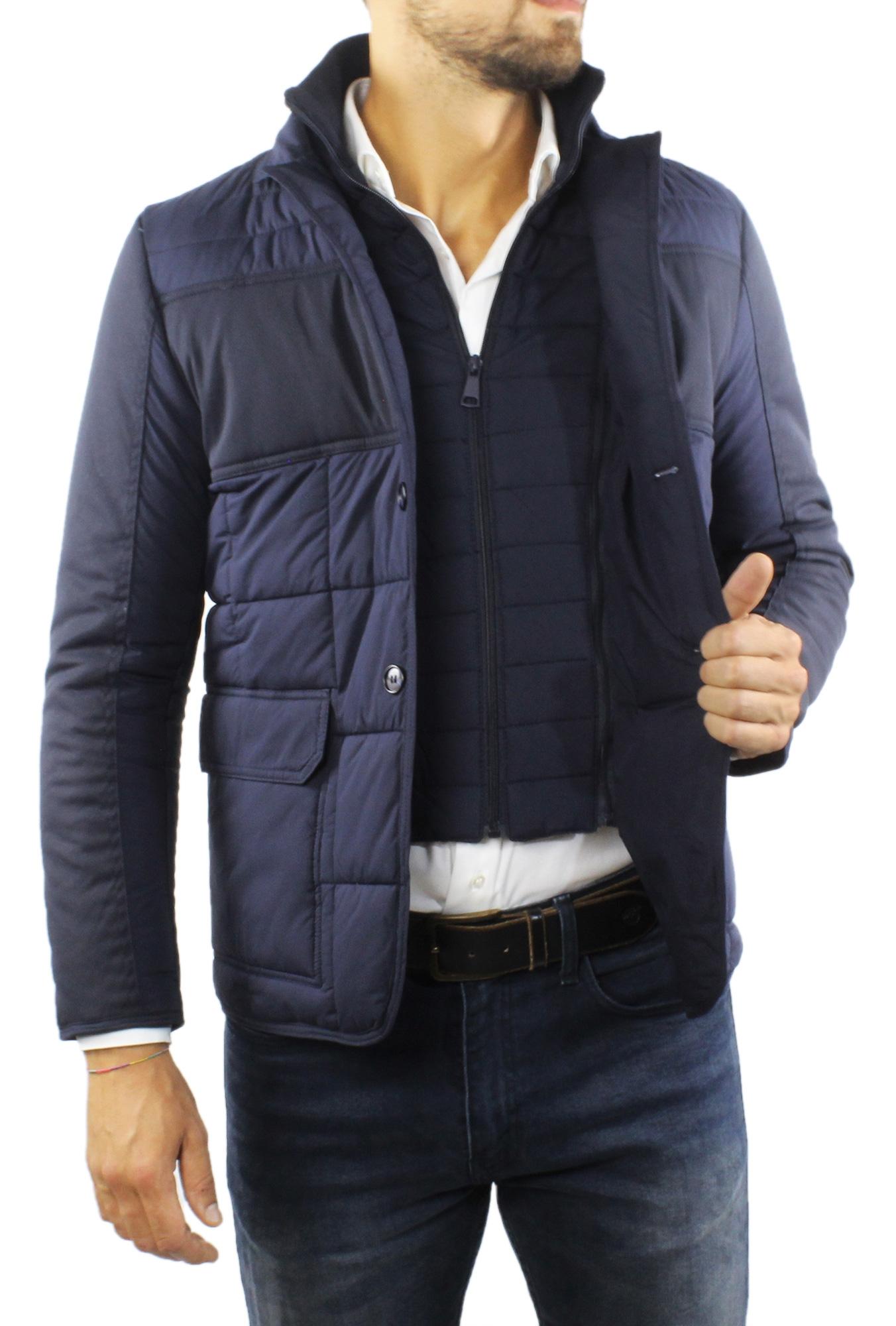 Giubbotto-Uomo-Invernale-Slim-Fit-Blu-Nero-Giacca-Elegante-Trapuntata-Cappotto miniatura 8