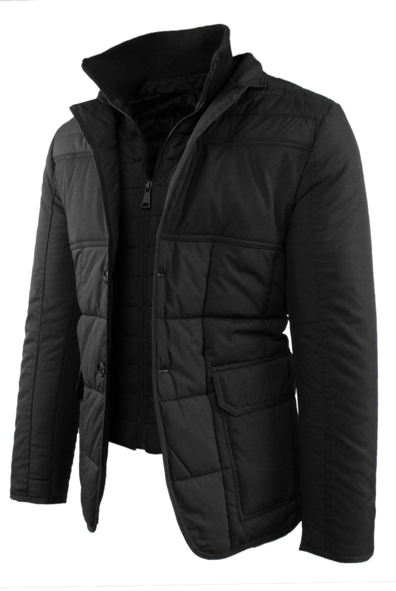 Giubbotto-Uomo-Invernale-Slim-Fit-Blu-Nero-Giacca-Elegante-Trapuntata-Cappotto miniatura 11