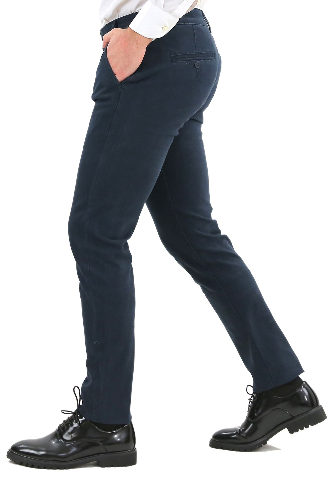 Pantaloni-Uomo-Slim-Fit-Eleganti-Invernali-Blu-Nero-Classico-Chino-Tasca-America miniatura 3