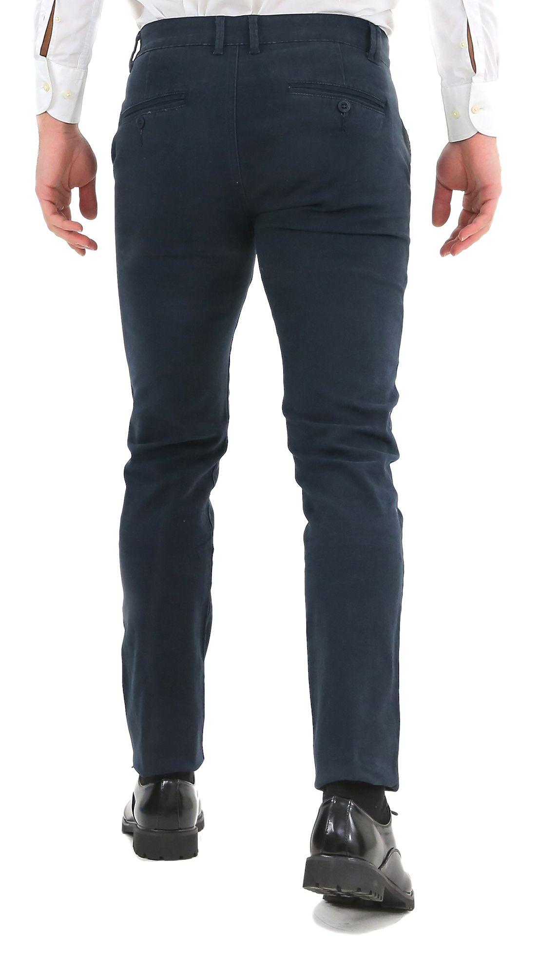 Pantaloni-Uomo-Slim-Fit-Eleganti-Invernali-Blu-Nero-Classico-Chino-Tasca-America miniatura 4