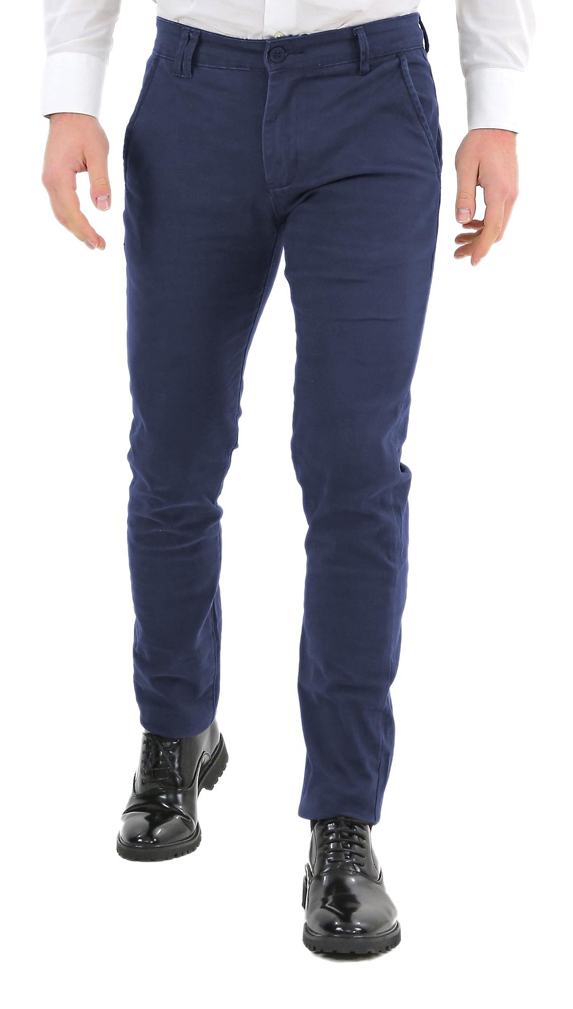 Pantaloni-Uomo-Slim-Fit-Eleganti-Invernali-Blu-Nero-Classico-Chino-Tasca-America miniatura 17