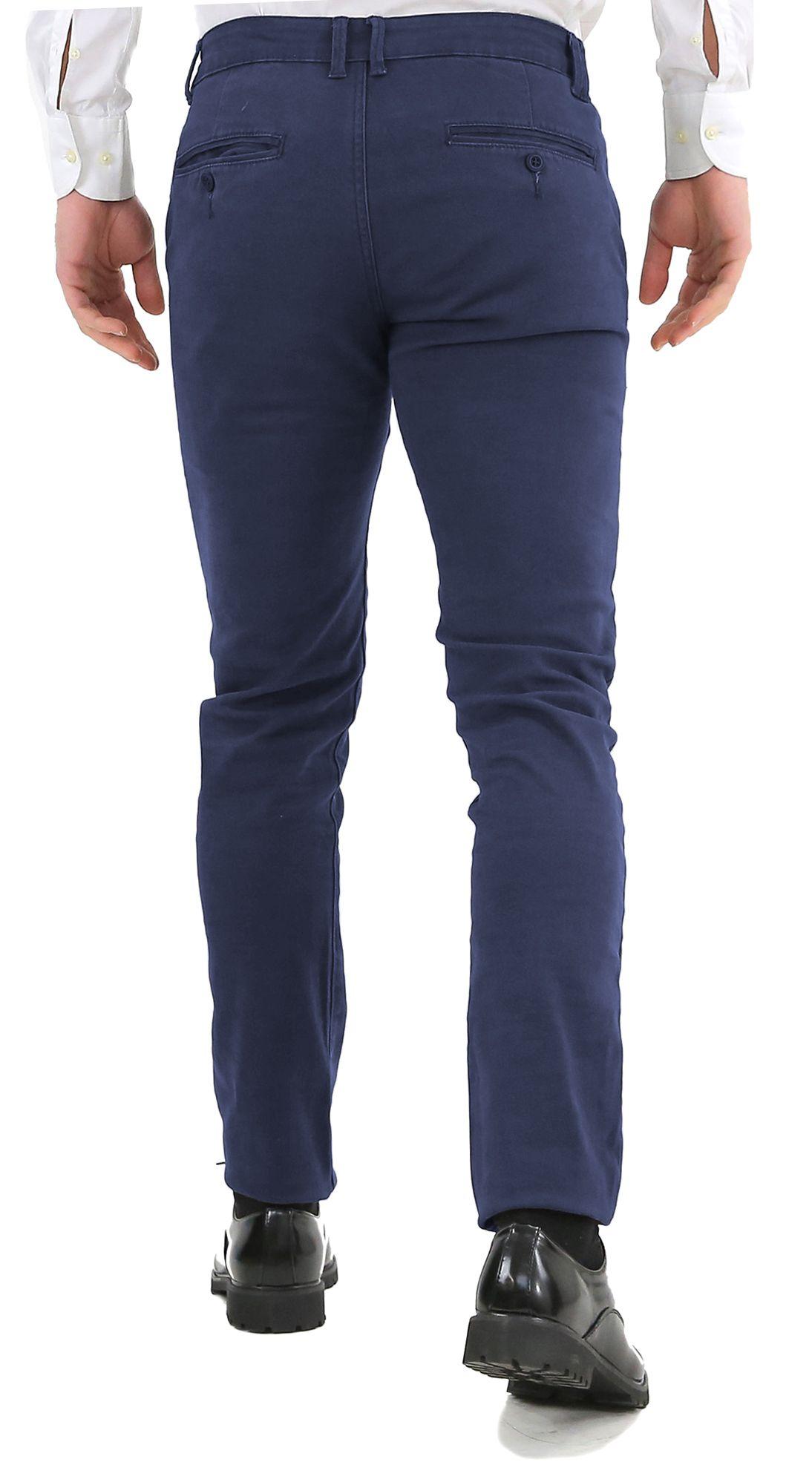 Pantaloni-Uomo-Slim-Fit-Eleganti-Invernali-Blu-Nero-Classico-Chino-Tasca-America miniatura 19
