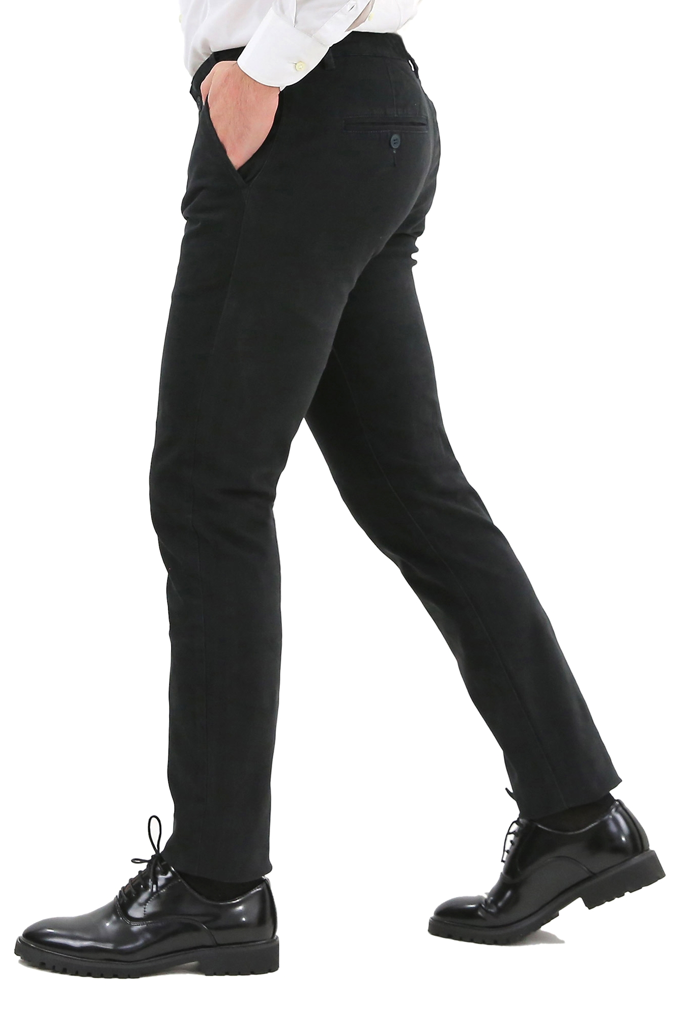 Pantaloni-Uomo-Slim-Fit-Eleganti-Invernali-Blu-Nero-Classico-Chino-Tasca-America miniatura 12