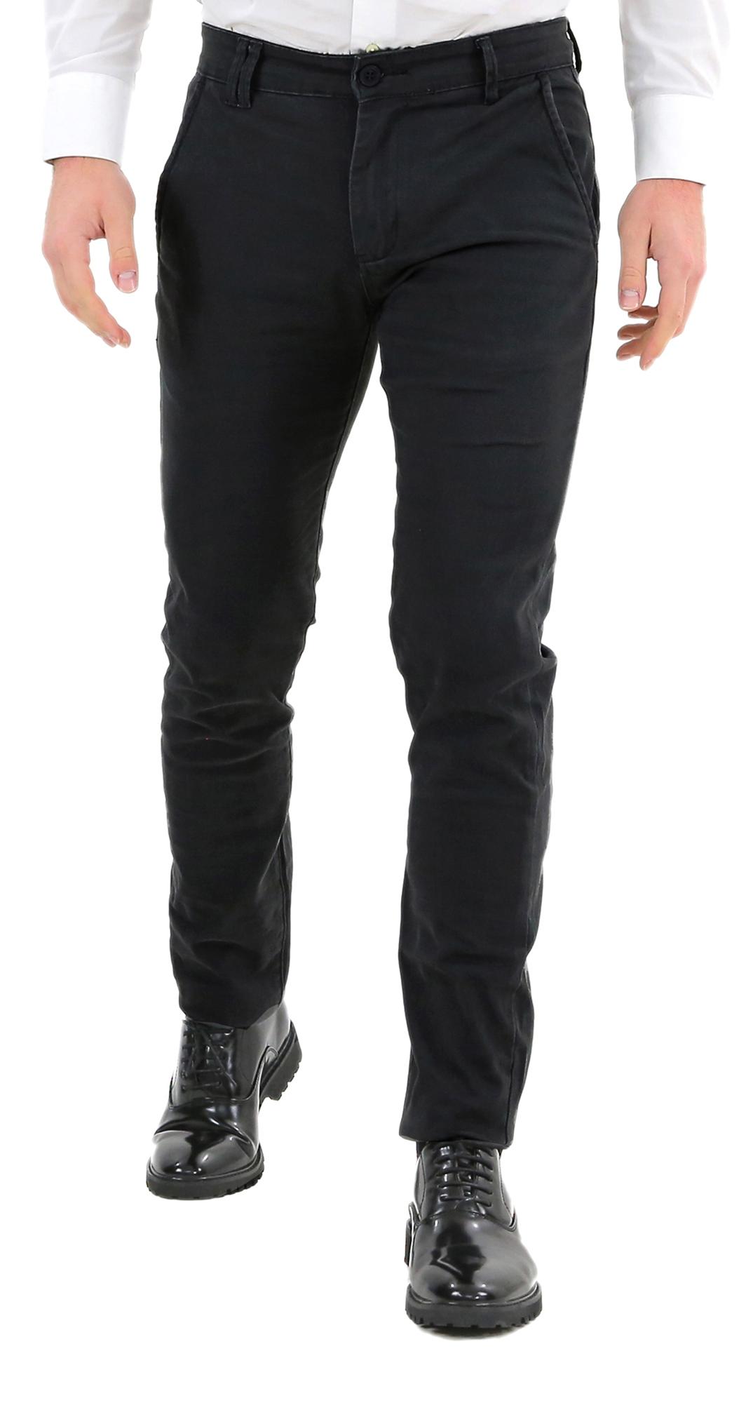 Pantaloni-Uomo-Slim-Fit-Eleganti-Invernali-Blu-Nero-Classico-Chino-Tasca-America miniatura 11