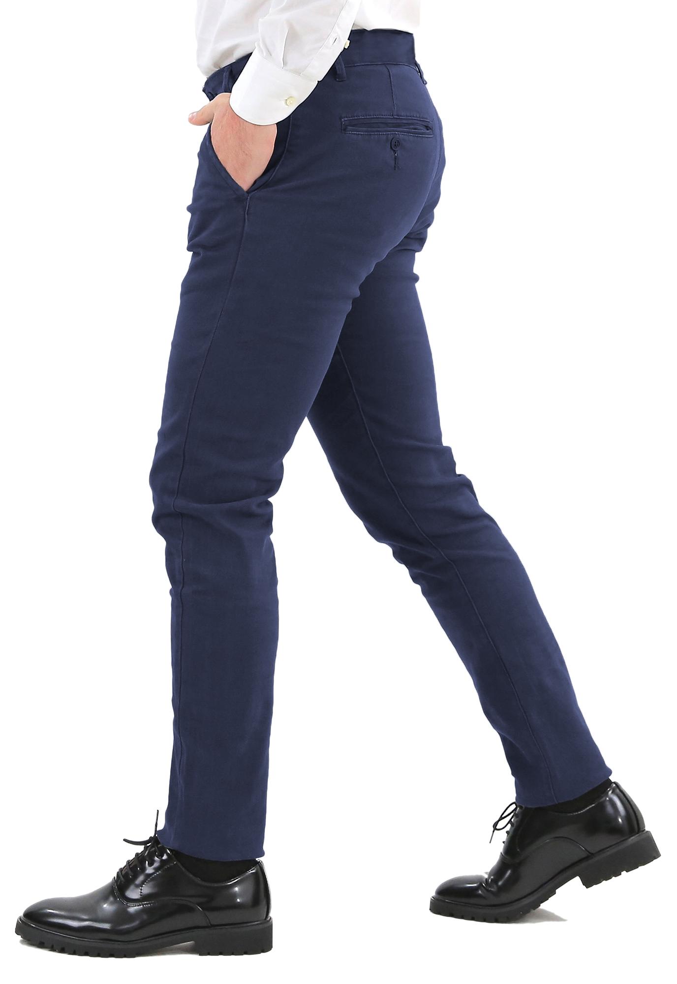 Pantaloni-Uomo-Slim-Fit-Eleganti-Invernali-Blu-Nero-Classico-Chino-Tasca-America miniatura 18