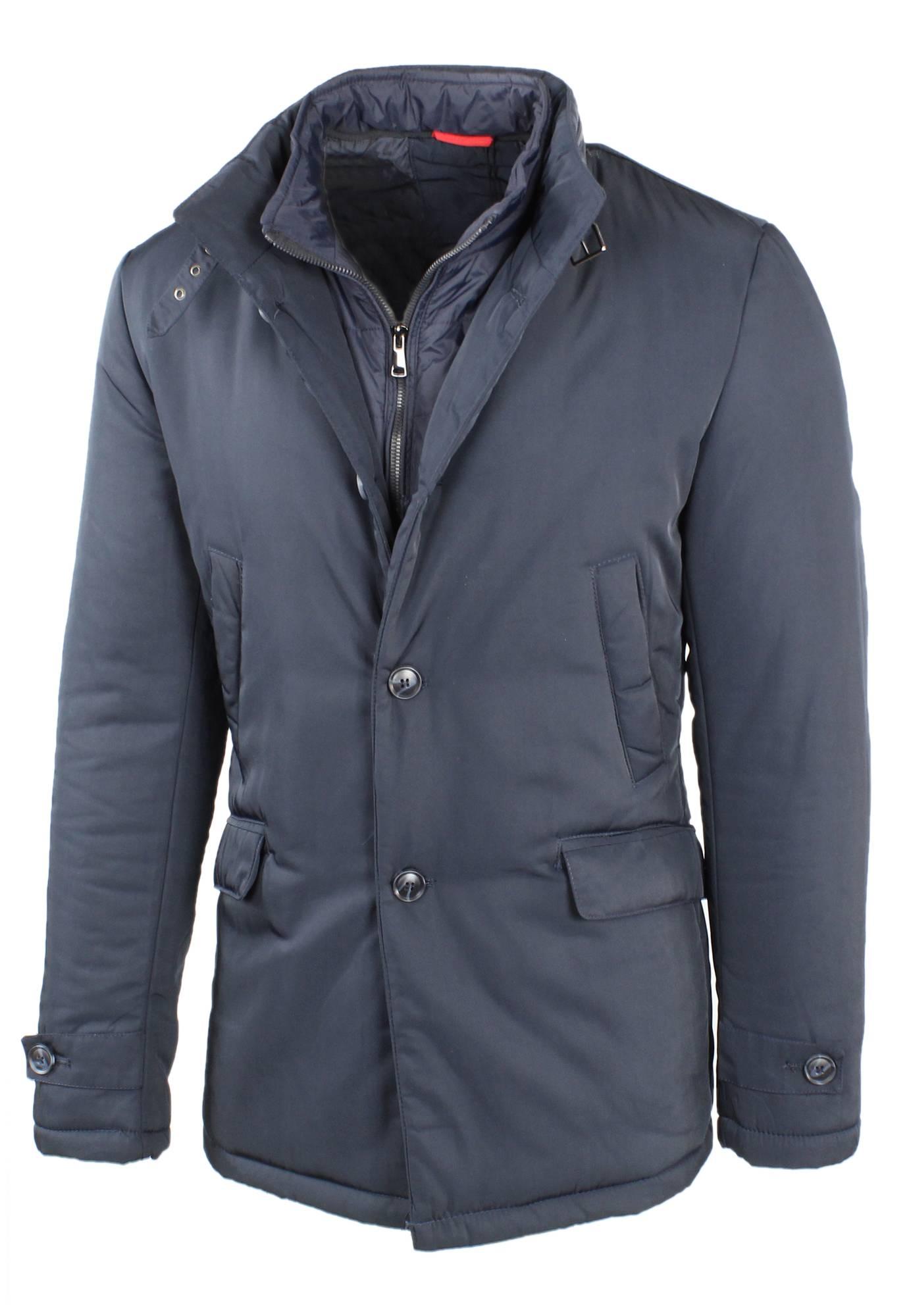 Giubbotto-Uomo-Invernale-Giaccone-Elegante-Giubbino-Sartoriale-Blu-Nero-Cappotto miniatura 4
