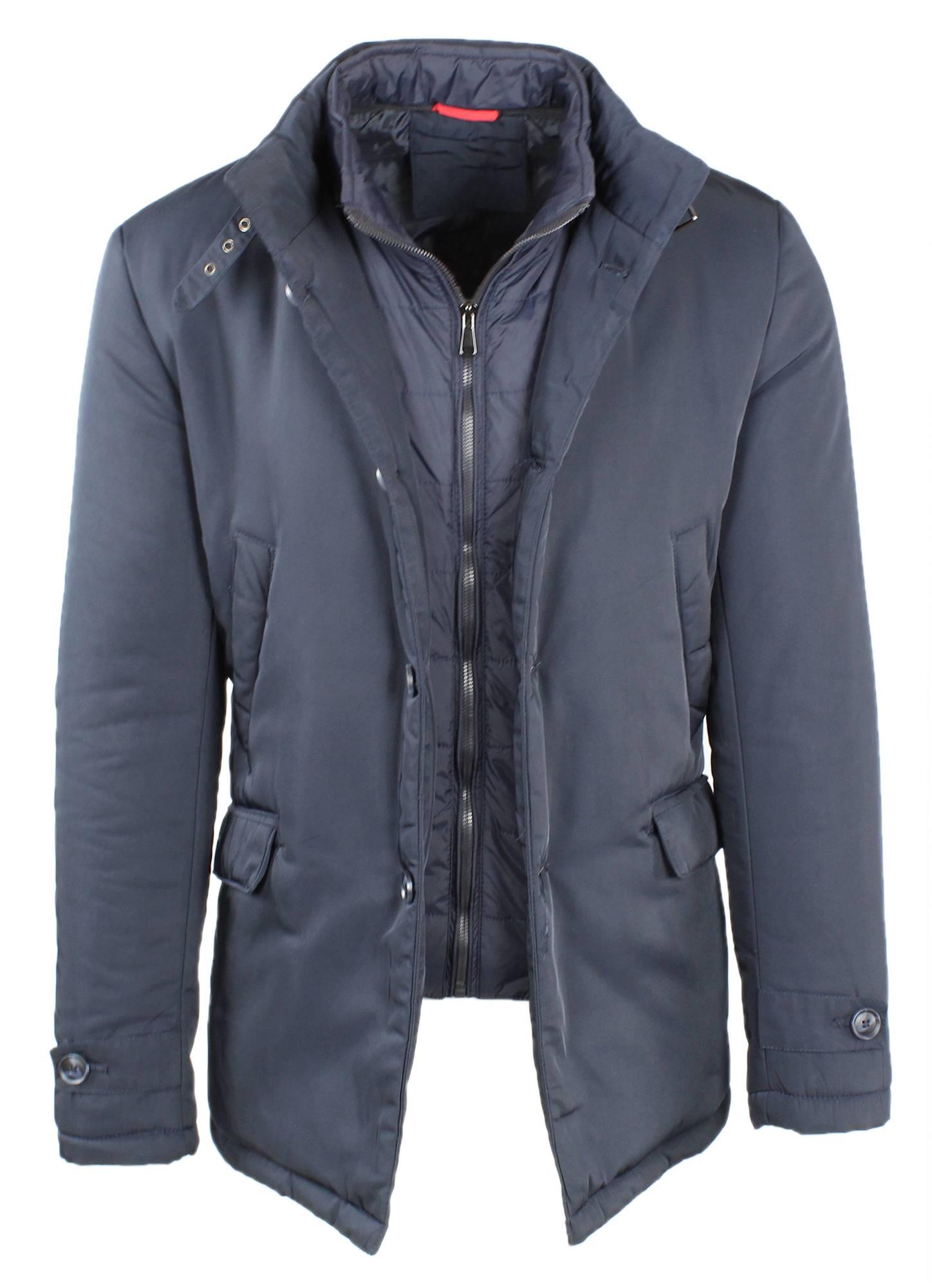 Giubbotto-Uomo-Invernale-Giaccone-Elegante-Giubbino-Sartoriale-Blu-Nero-Cappotto miniatura 5