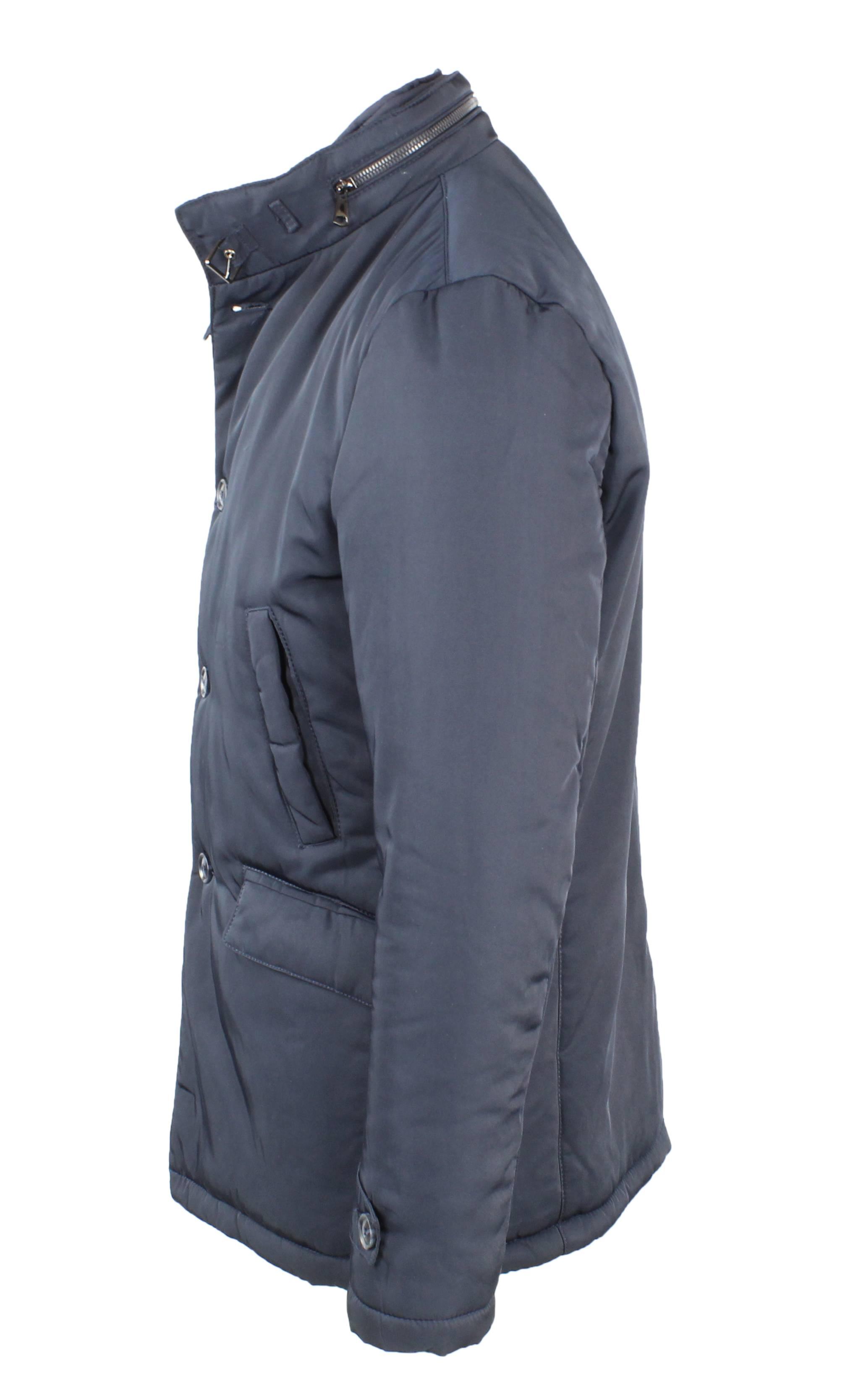 Giubbotto-Uomo-Invernale-Giaccone-Elegante-Giubbino-Sartoriale-Blu-Nero-Cappotto miniatura 6