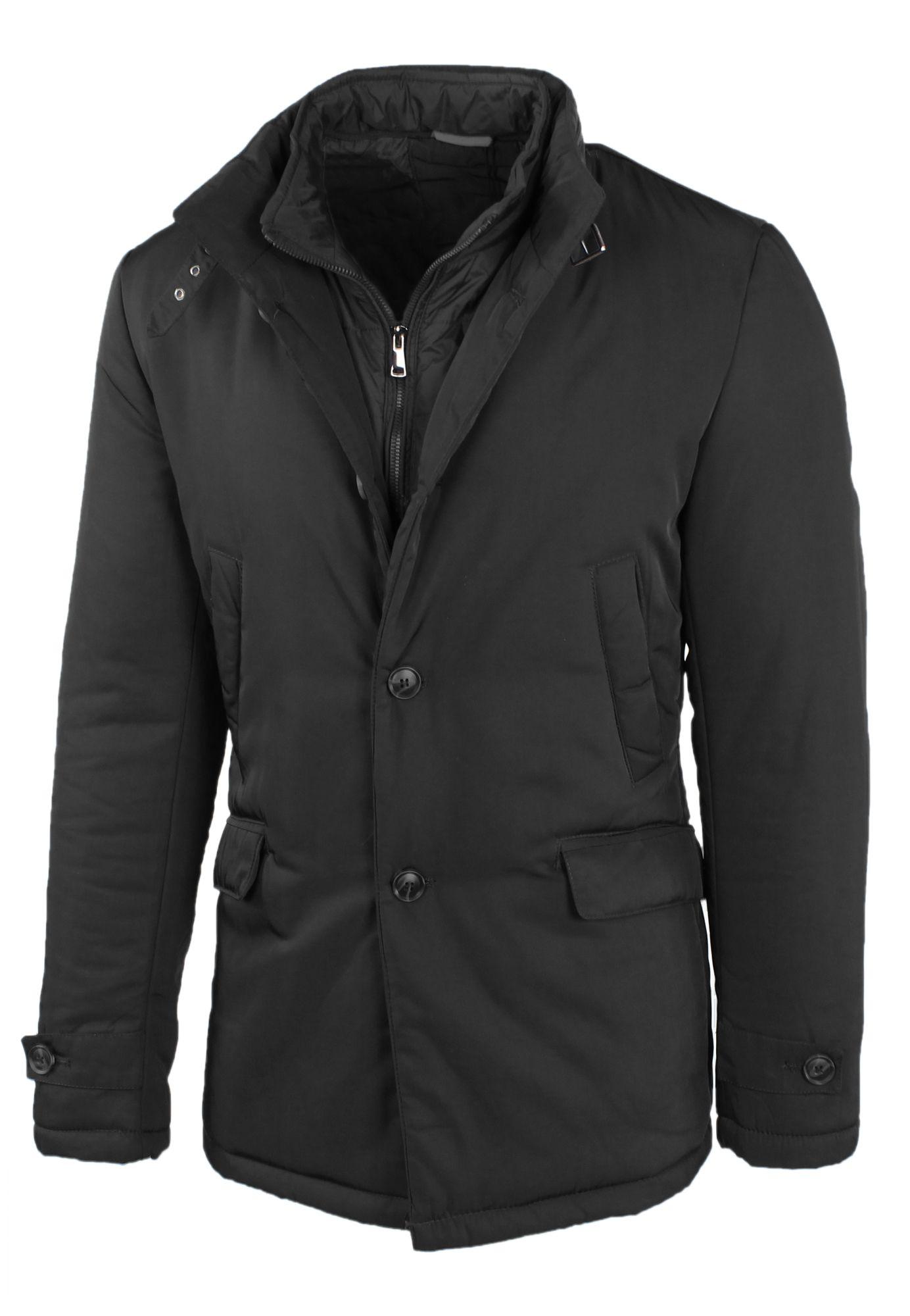 Giubbotto-Uomo-Invernale-Giaccone-Elegante-Giubbino-Sartoriale-Blu-Nero-Cappotto miniatura 9