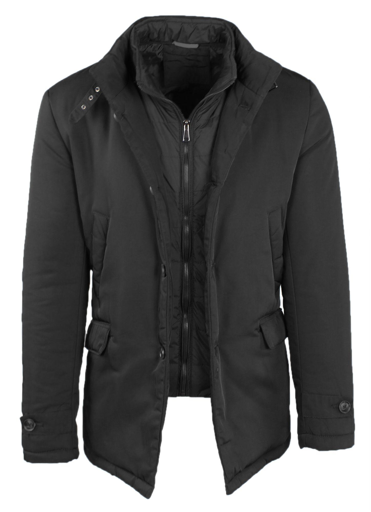 Giubbotto-Uomo-Invernale-Giaccone-Elegante-Giubbino-Sartoriale-Blu-Nero-Cappotto miniatura 10