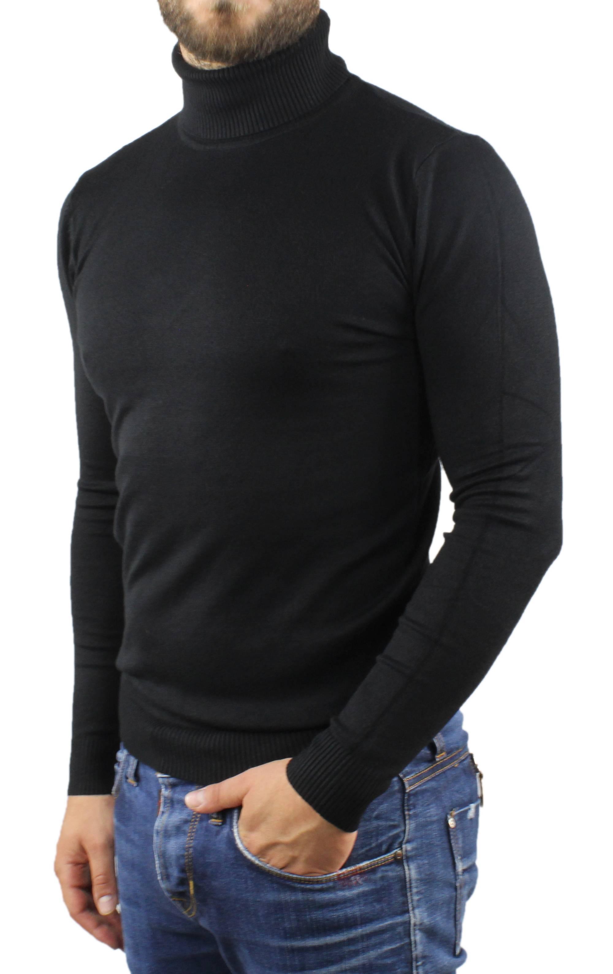 Maglione-Uomo-Collo-Alto-Dolcevita-Maglia-Blu-Nero-Bordo-Lupetto-Maglioncino miniatura 14