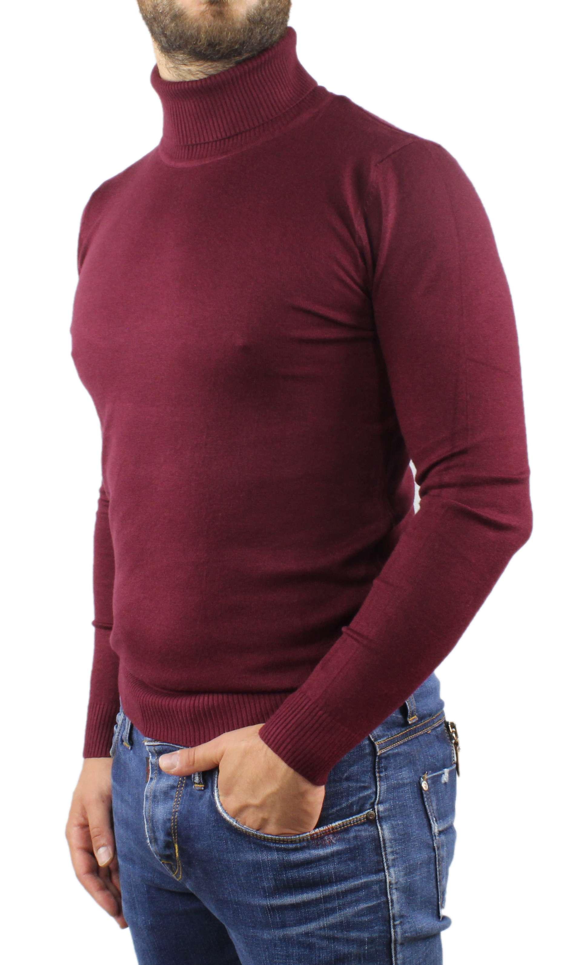 Maglione-Uomo-Collo-Alto-Dolcevita-Maglia-Blu-Nero-Bordo-Lupetto-Maglioncino miniatura 11