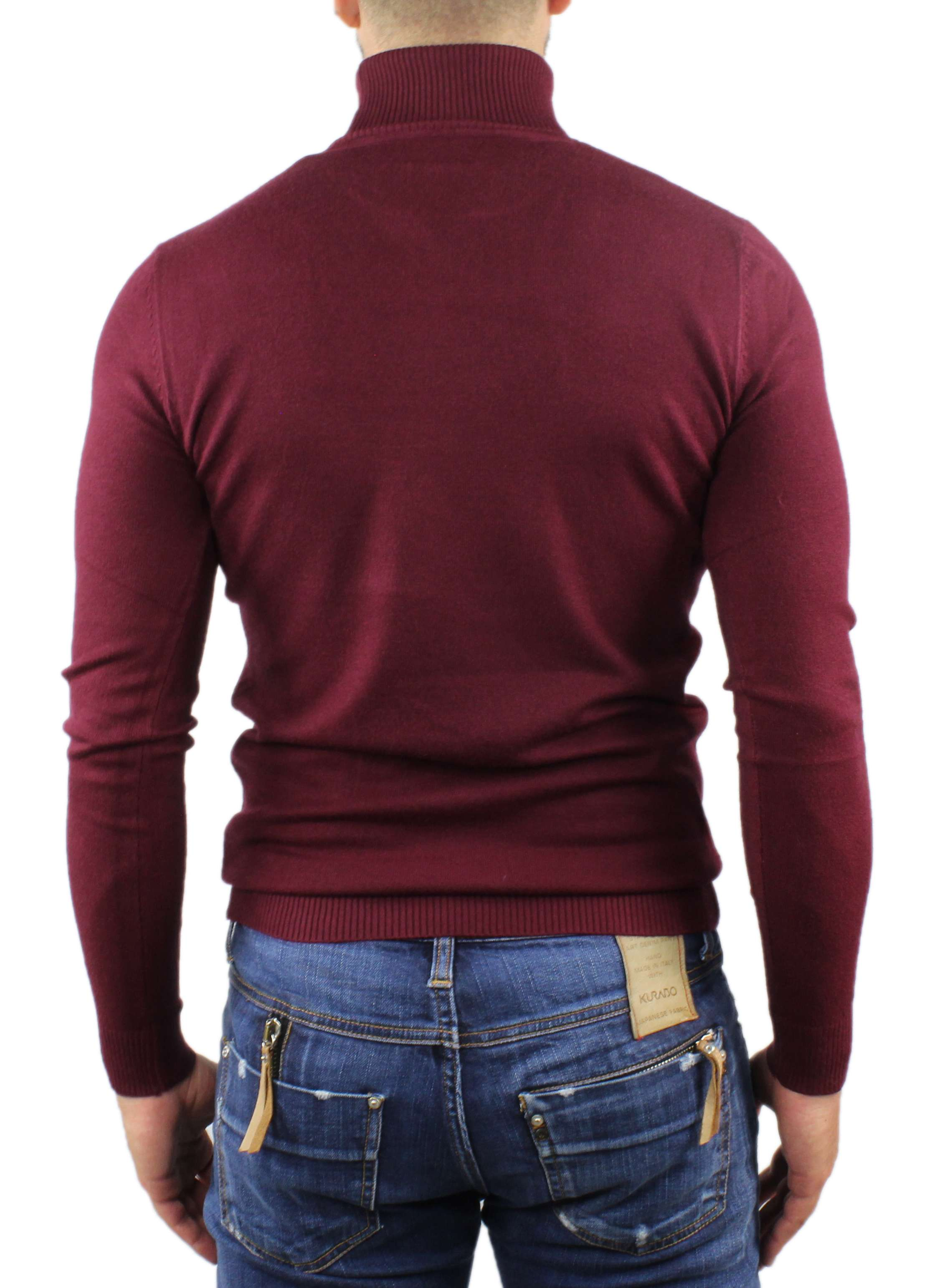 Maglione-Uomo-Collo-Alto-Dolcevita-Maglia-Blu-Nero-Bordo-Lupetto-Maglioncino miniatura 12