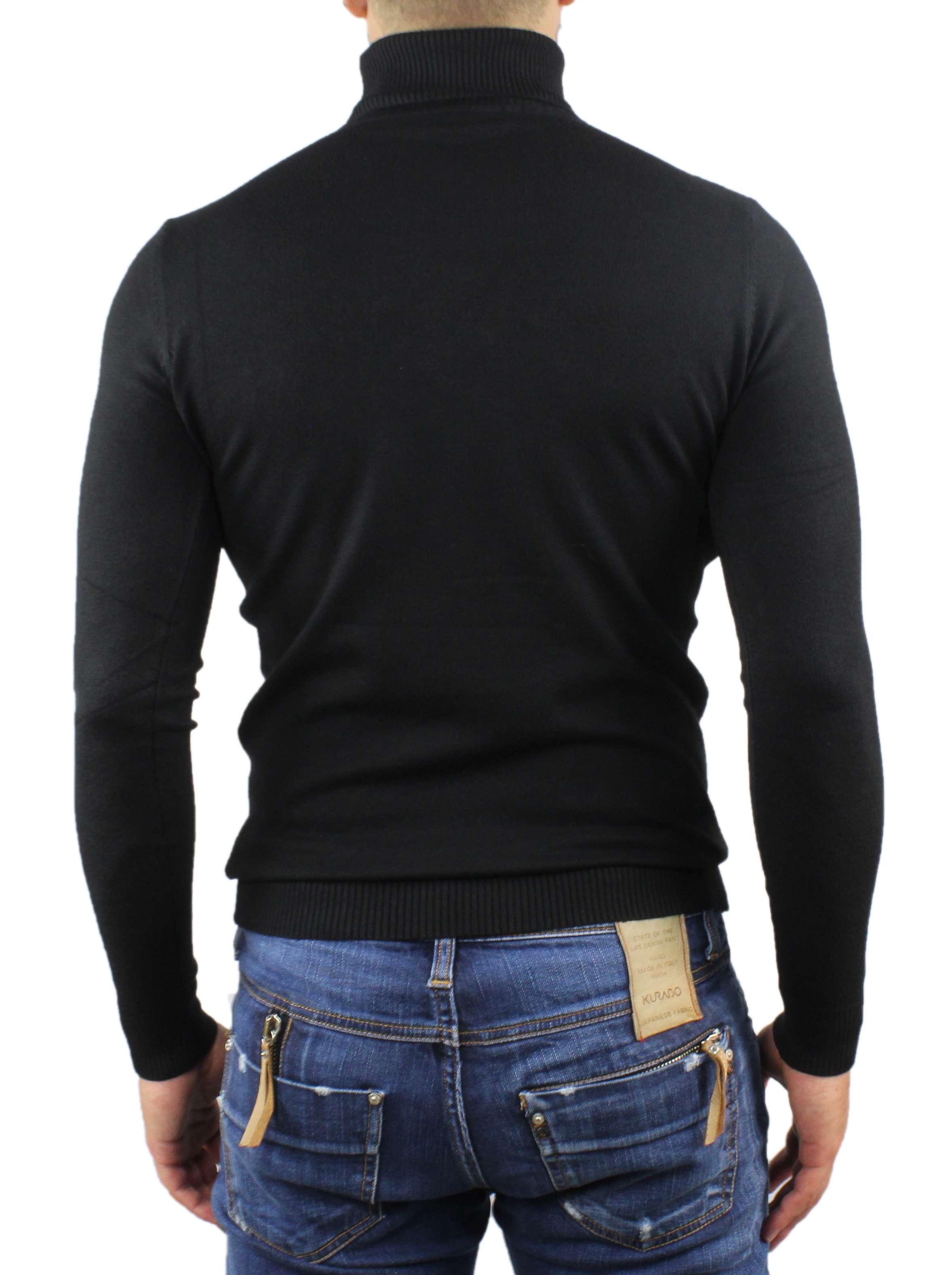 Maglione-Uomo-Collo-Alto-Dolcevita-Maglia-Blu-Nero-Bordo-Lupetto-Maglioncino miniatura 15