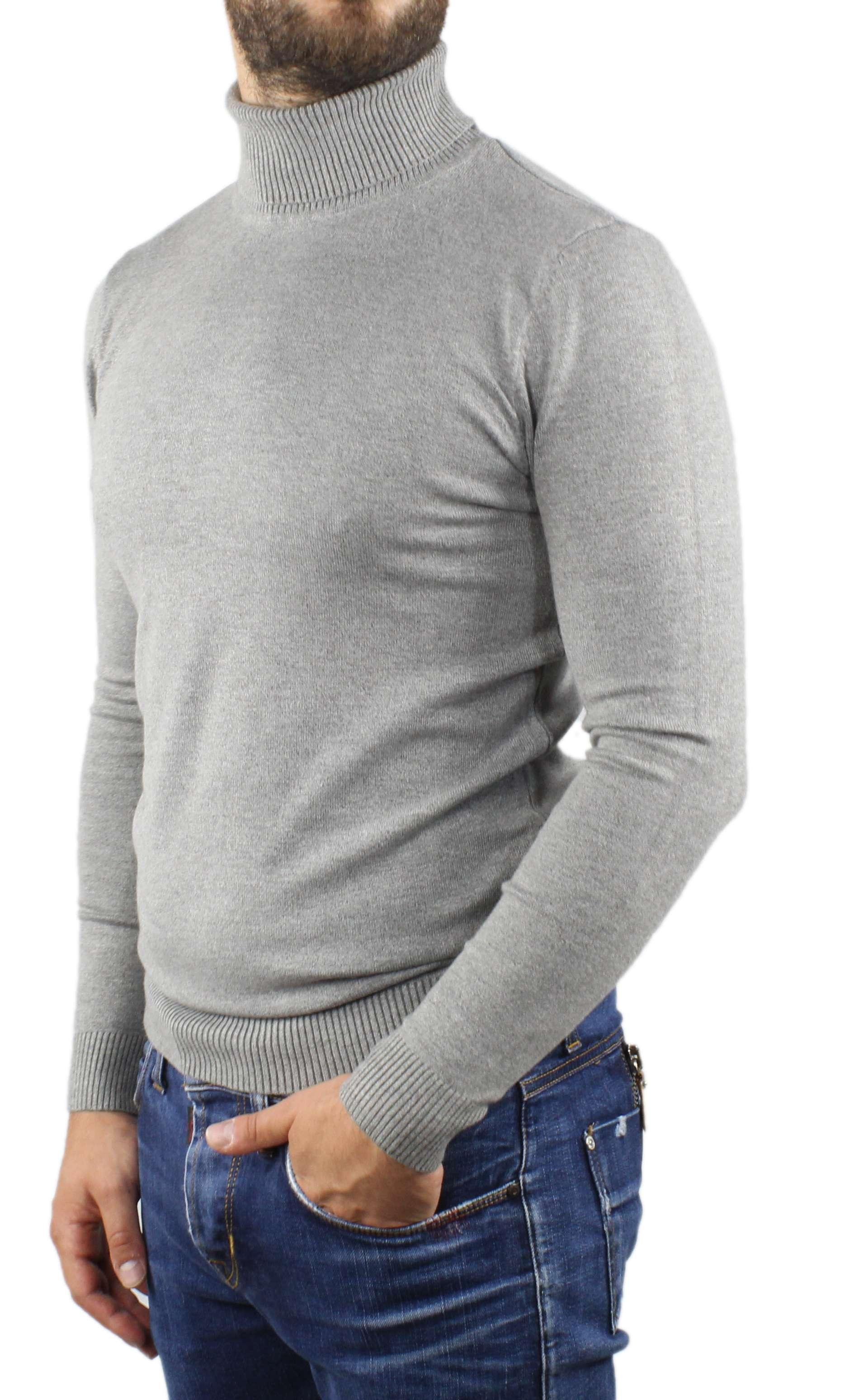 Maglione-Uomo-Collo-Alto-Dolcevita-Maglia-Blu-Nero-Bordo-Lupetto-Maglioncino miniatura 17