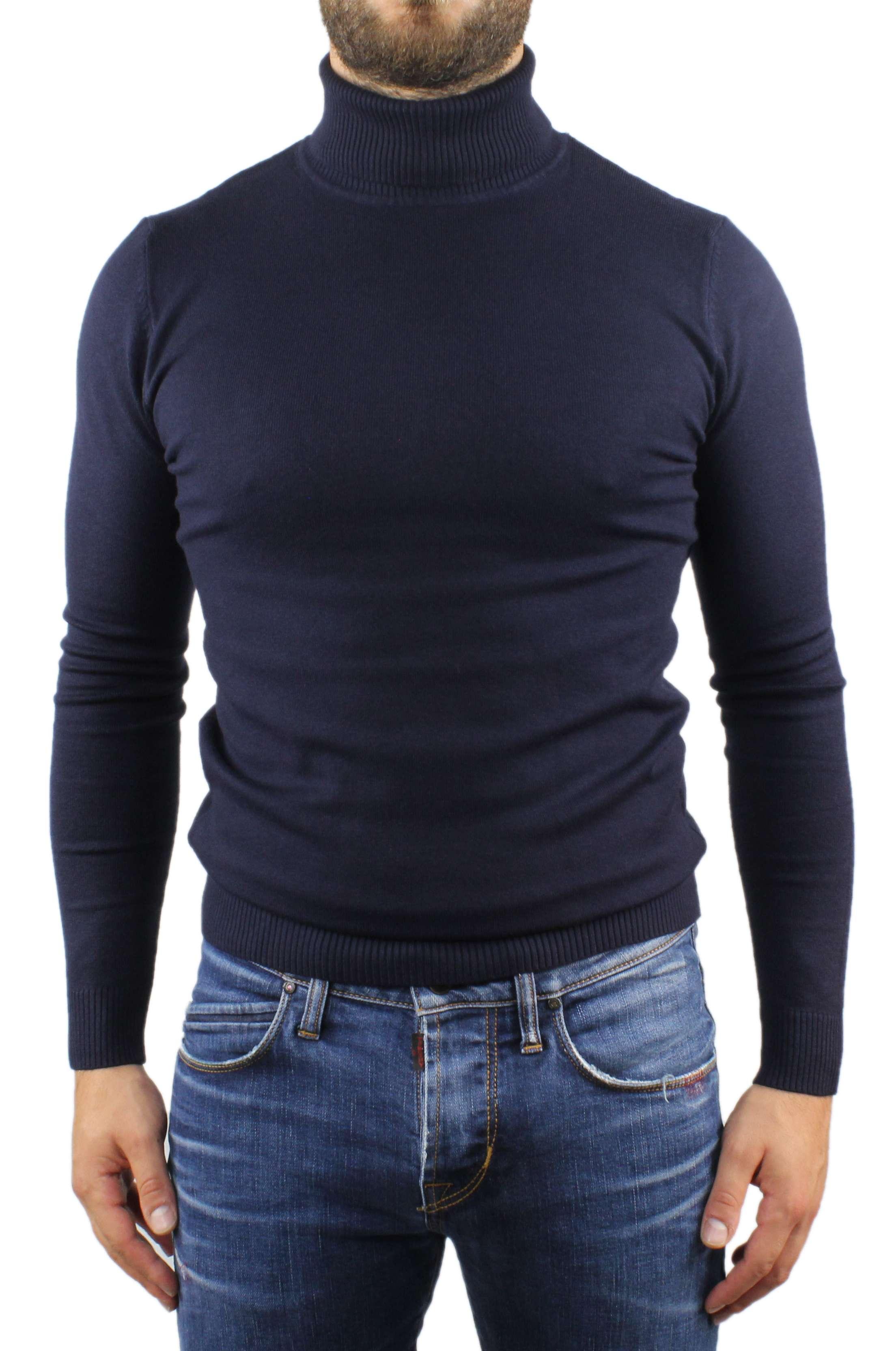 Maglione-Uomo-Collo-Alto-Dolcevita-Maglia-Blu-Nero-Bordo-Lupetto-Maglioncino miniatura 5