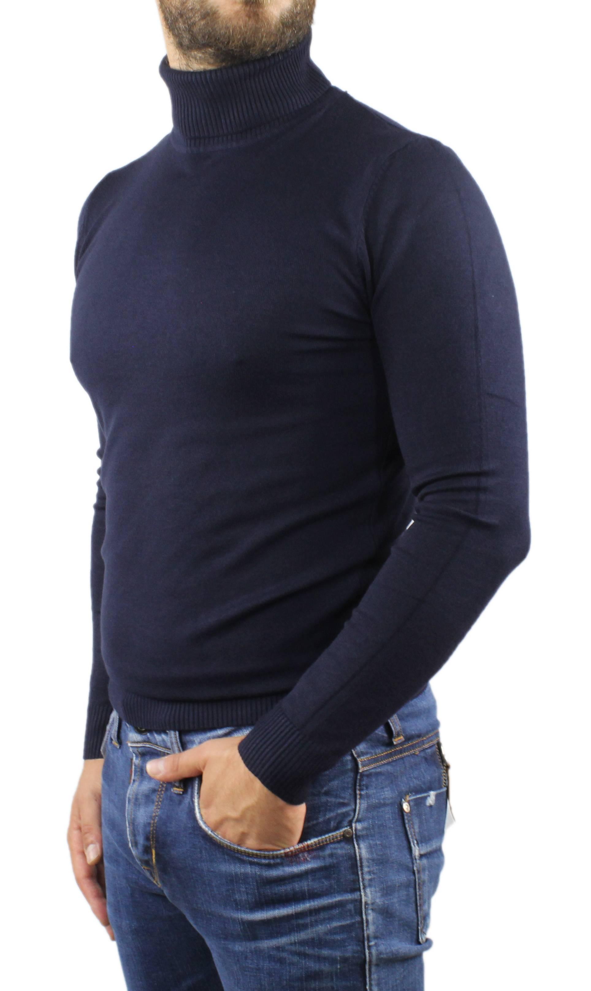 Maglione-Uomo-Collo-Alto-Dolcevita-Maglia-Blu-Nero-Bordo-Lupetto-Maglioncino miniatura 6