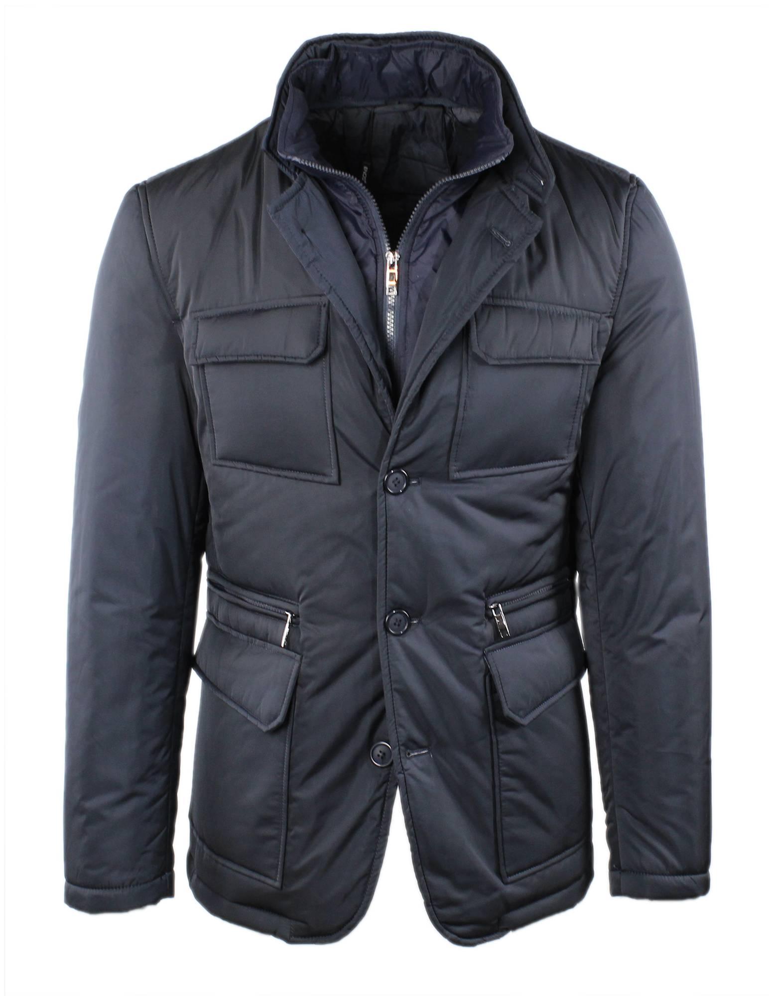 Giubbotto-Uomo-Invernale-Elegante-Slim-Fit-Giacca-Giubbino-Sartoriale-Blu-Nero miniatura 4