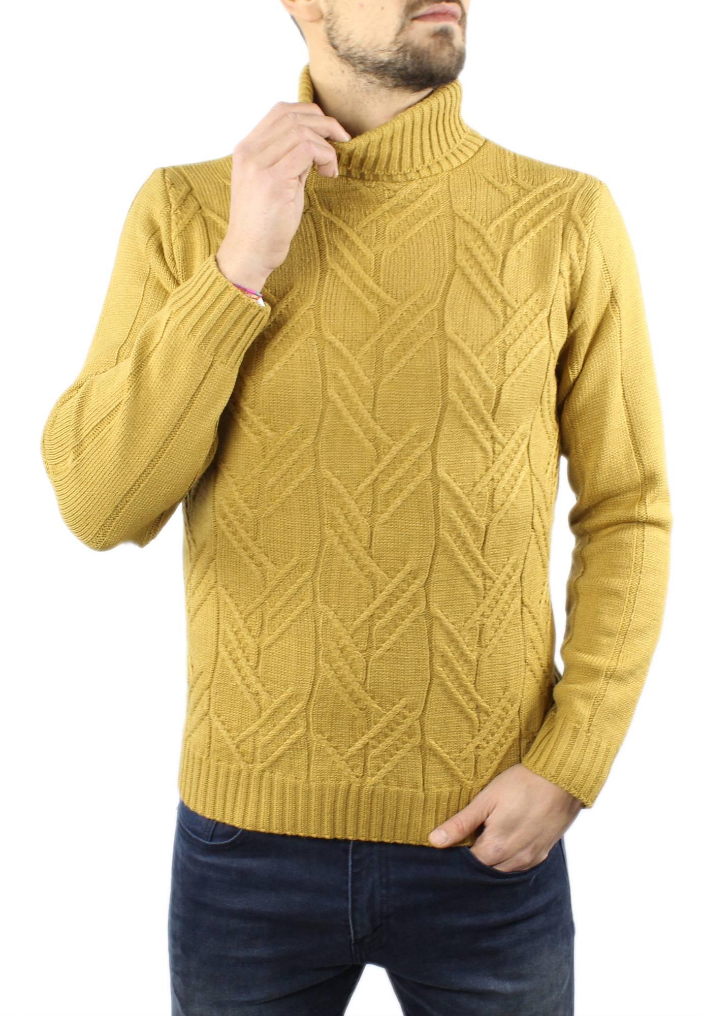 Maglione-Uomo-Collo-Alto-Lana-Pesante-Dolcevita-Trecce-Lupetto-Maglioncino miniatura 23