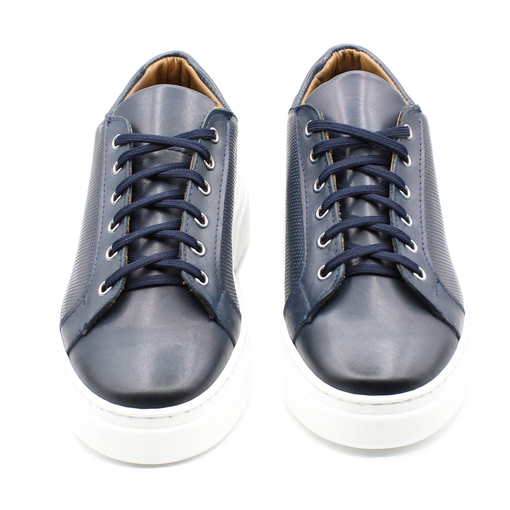 miniatura 3 - Sneakers-Uomo-in-Pelle-Basse-Nere-Blu-Scarpe-da-Ginnastica-Sportive-Eleganti