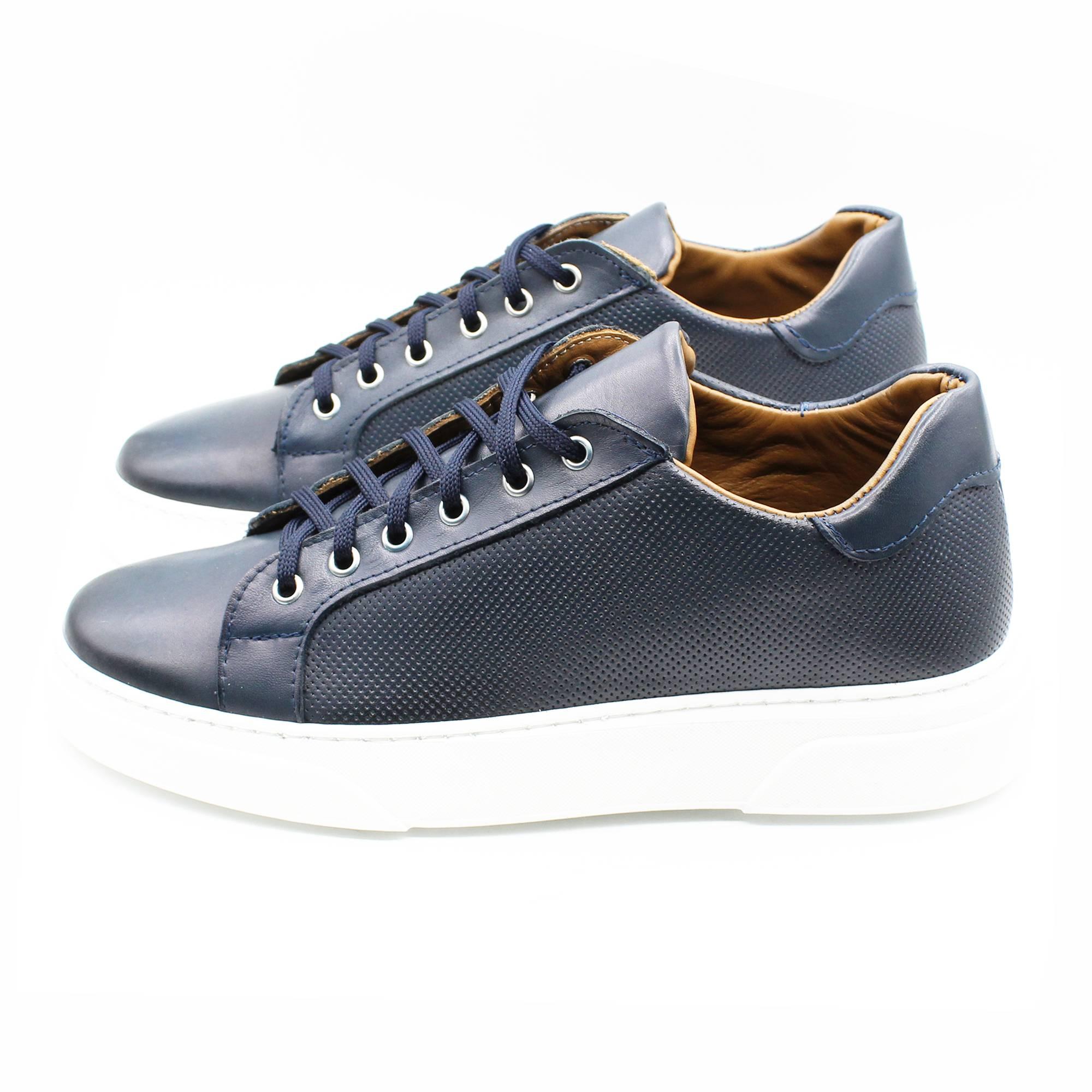 miniatura 4 - Sneakers-Uomo-in-Pelle-Basse-Nere-Blu-Scarpe-da-Ginnastica-Sportive-Eleganti