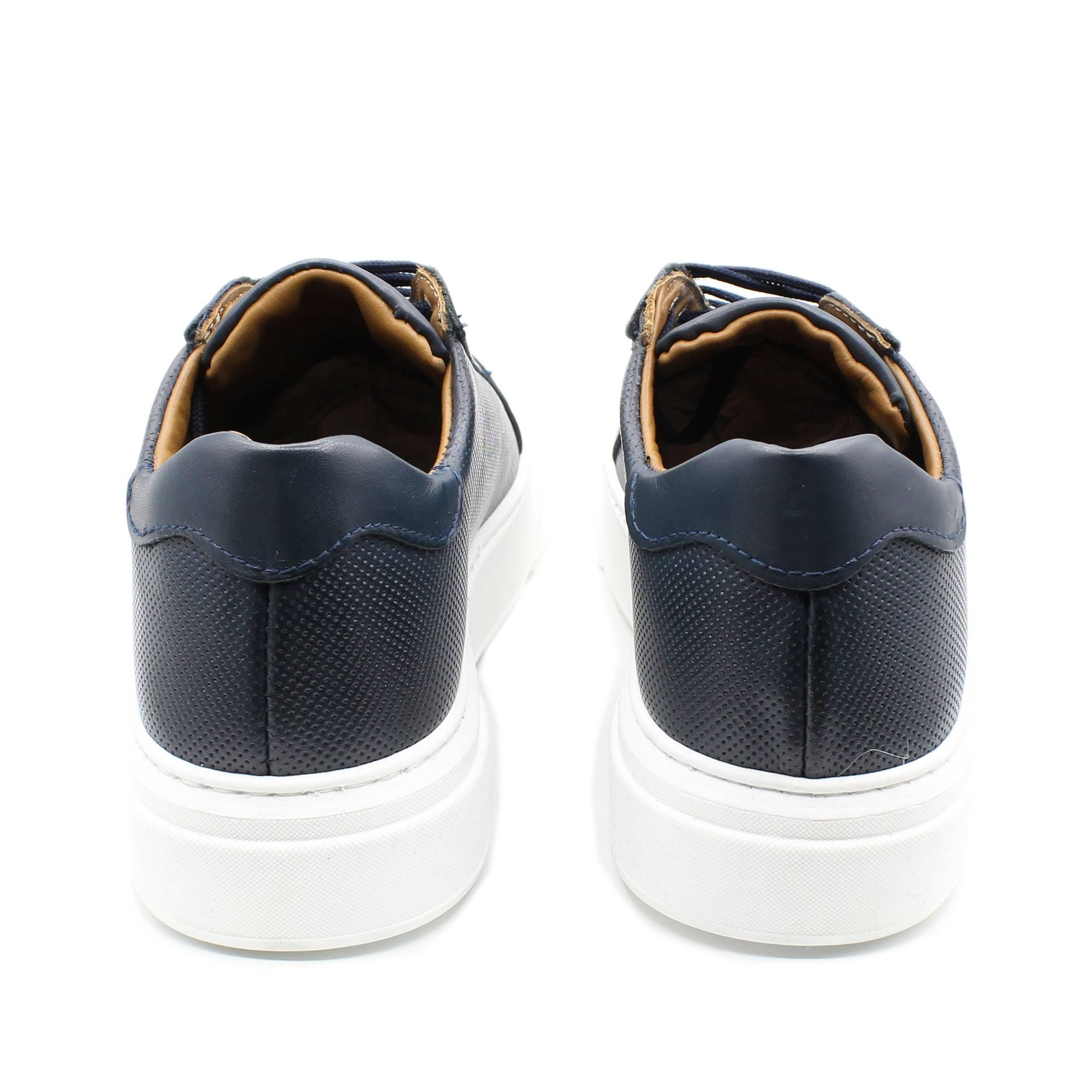 miniatura 5 - Sneakers-Uomo-in-Pelle-Basse-Nere-Blu-Scarpe-da-Ginnastica-Sportive-Eleganti