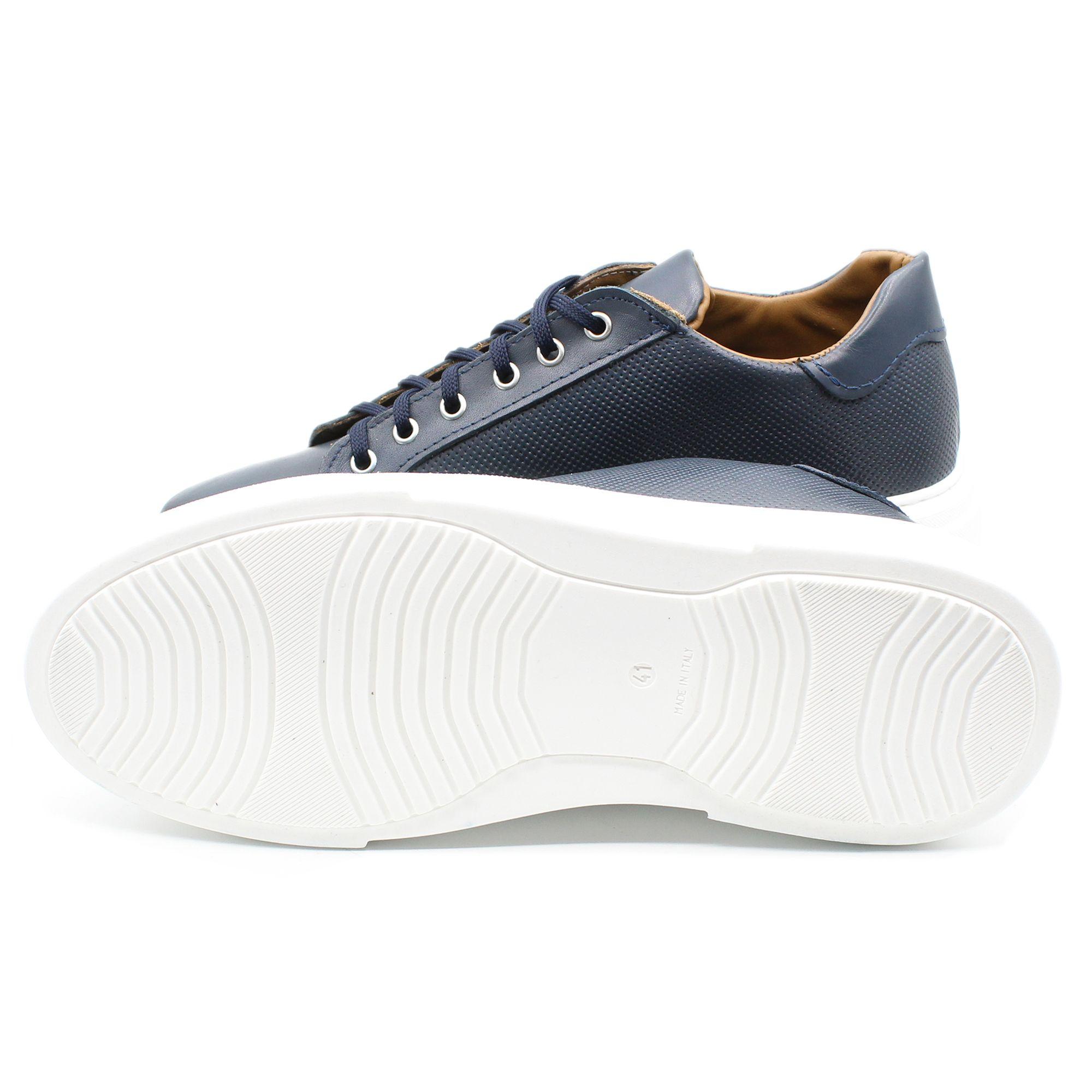 miniatura 6 - Sneakers-Uomo-in-Pelle-Basse-Nere-Blu-Scarpe-da-Ginnastica-Sportive-Eleganti