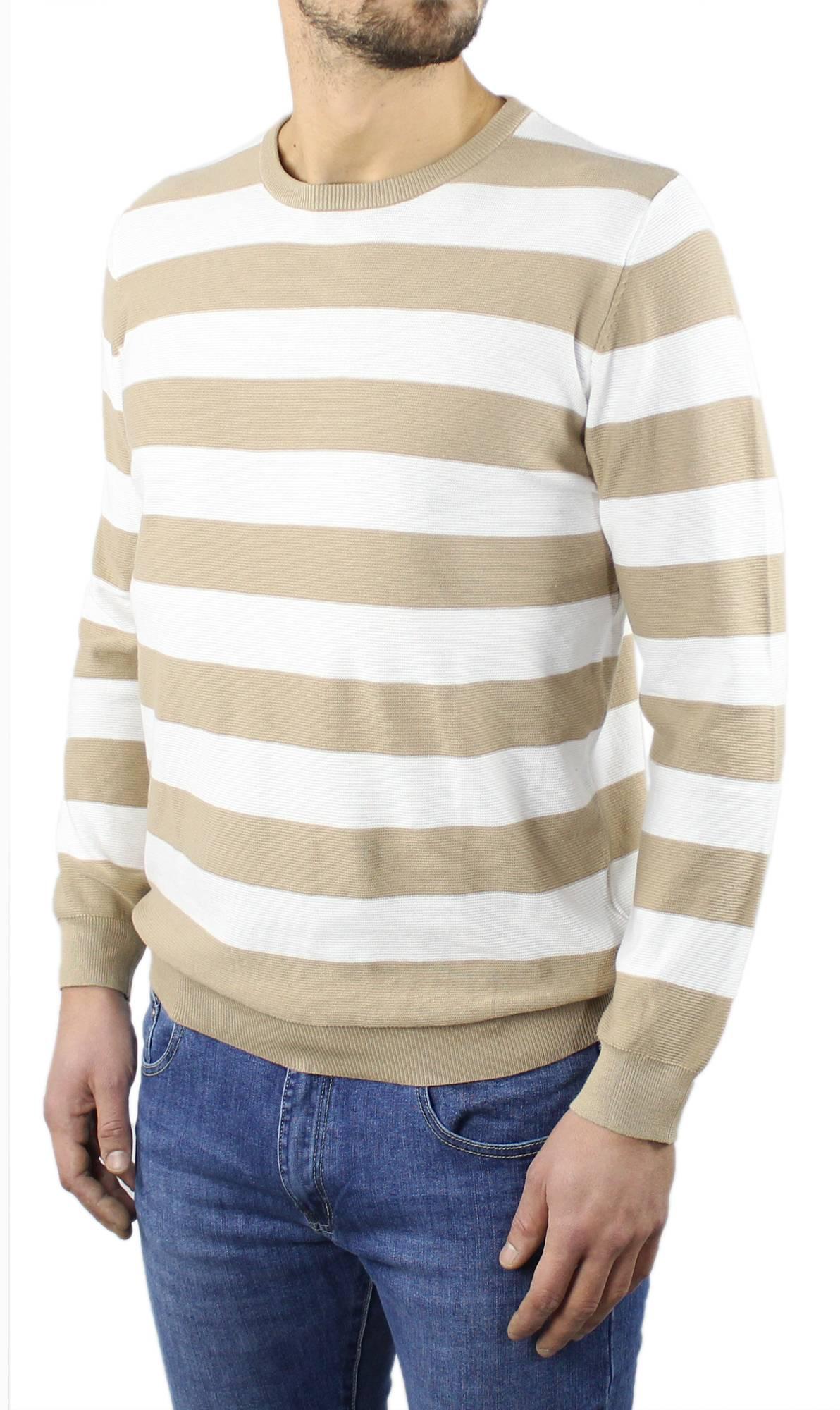 Maglia-Uomo-Cotone-Manica-Lunga-A-righe-Girocollo-Maglioncino-Primaverile-Casual miniatura 10