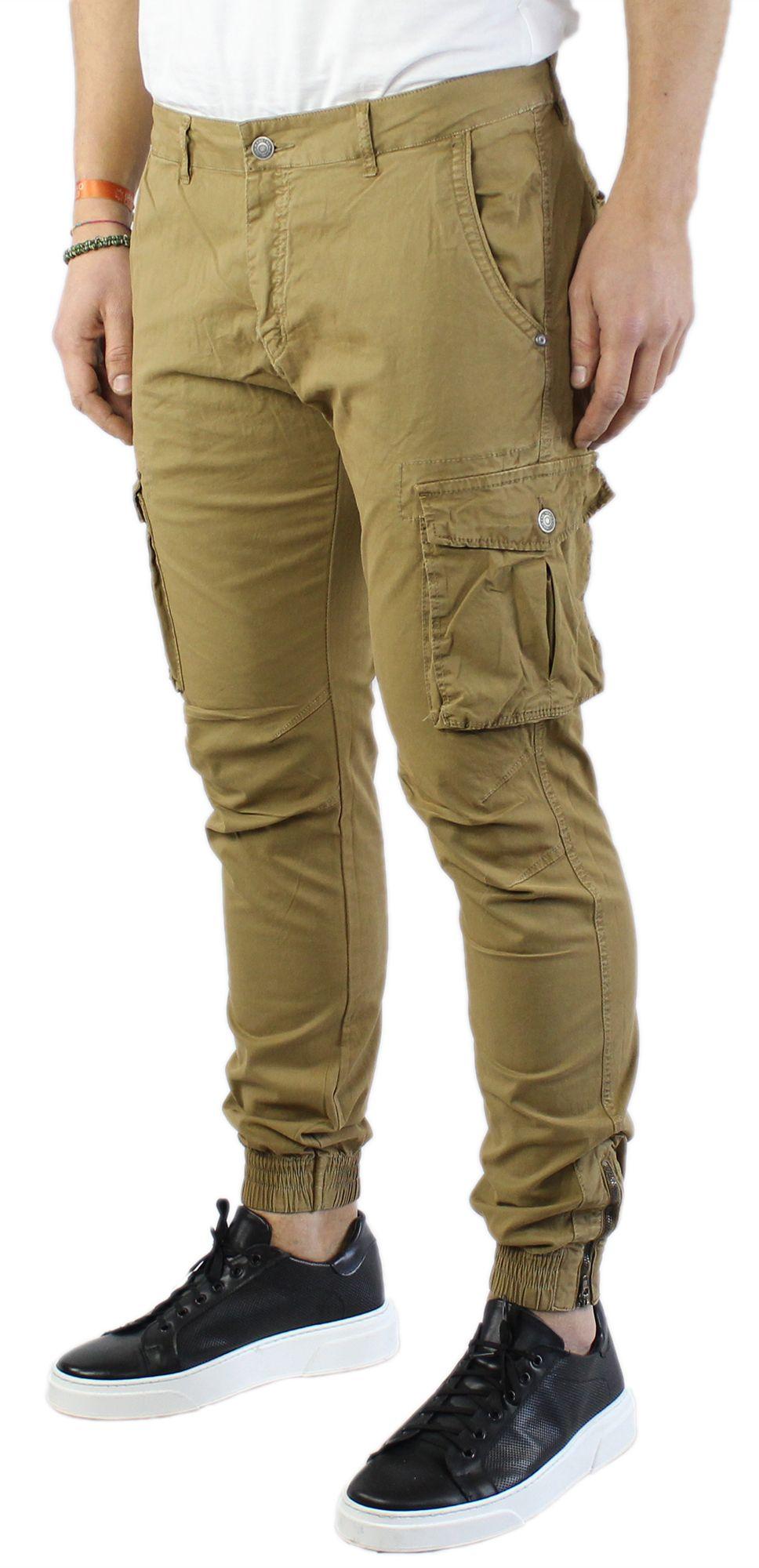 Pantaloni-Uomo-Cargo-in-Cotone-Pantalone-Tasconi-Laterali-Slim-Fit-Leggero miniatura 15