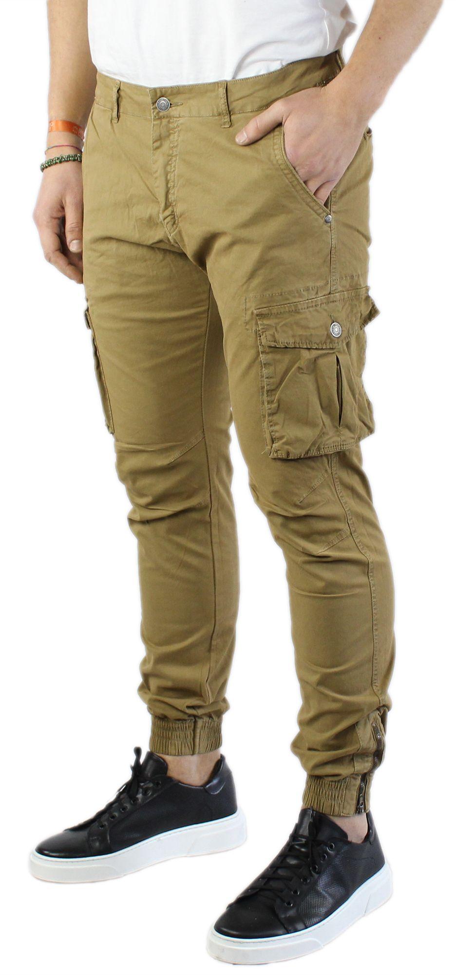 Pantaloni-Uomo-Cargo-in-Cotone-Pantalone-Tasconi-Laterali-Slim-Fit-Leggero miniatura 16