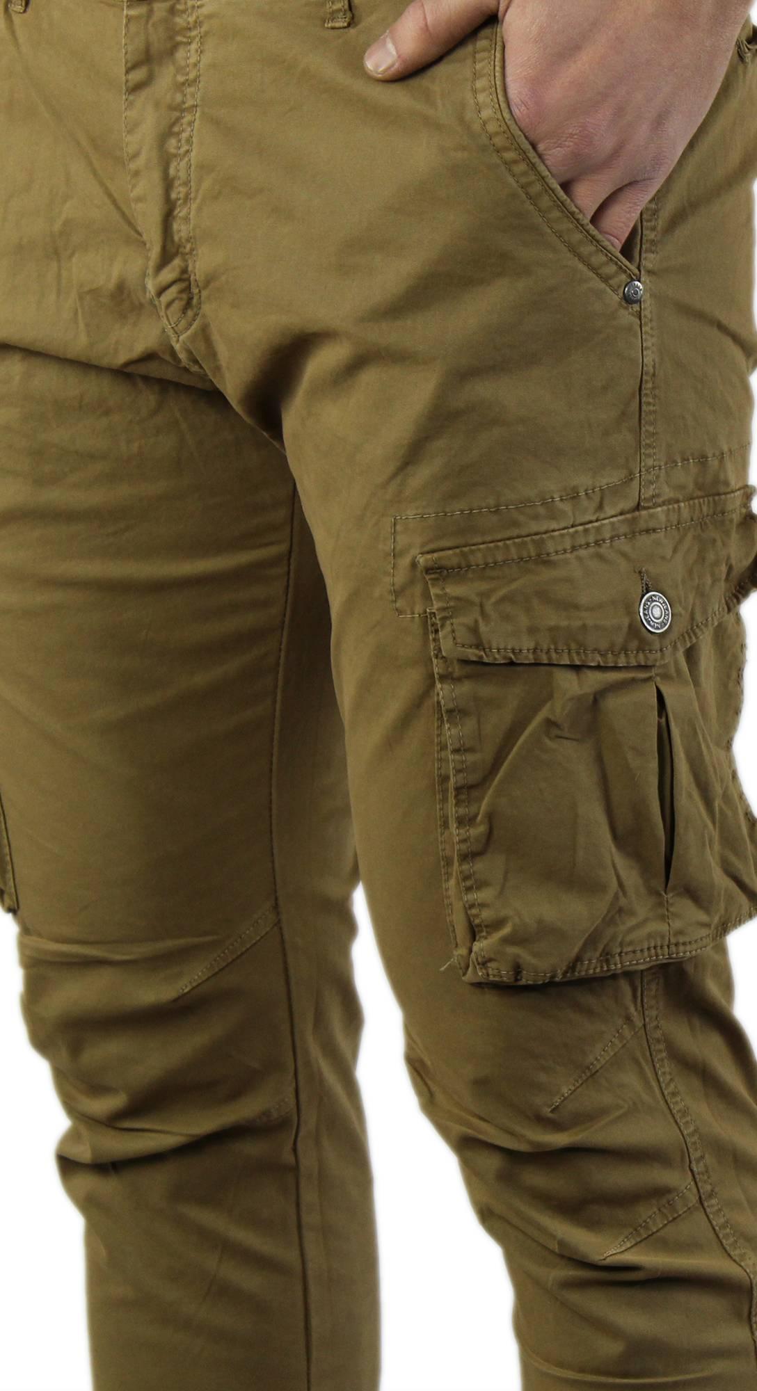 Pantaloni-Uomo-Cargo-in-Cotone-Pantalone-Tasconi-Laterali-Slim-Fit-Leggero miniatura 17