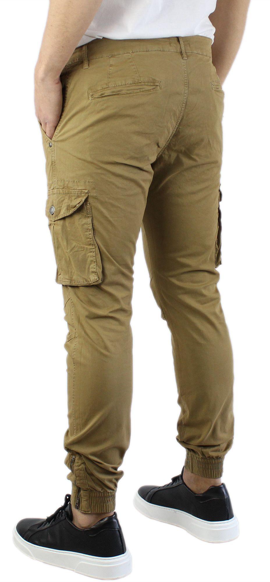 Pantaloni-Uomo-Cargo-in-Cotone-Pantalone-Tasconi-Laterali-Slim-Fit-Leggero miniatura 18