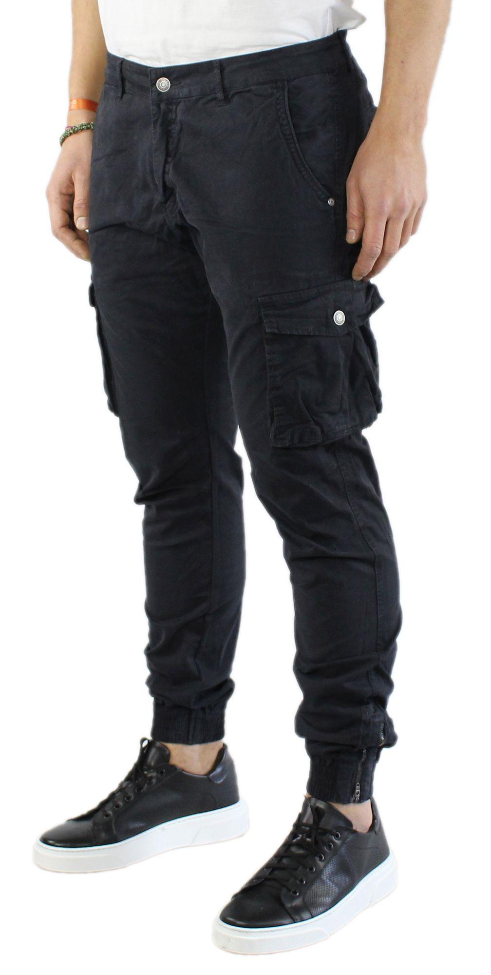 Pantaloni-Uomo-Cargo-in-Cotone-Pantalone-Tasconi-Laterali-Slim-Fit-Leggero miniatura 3