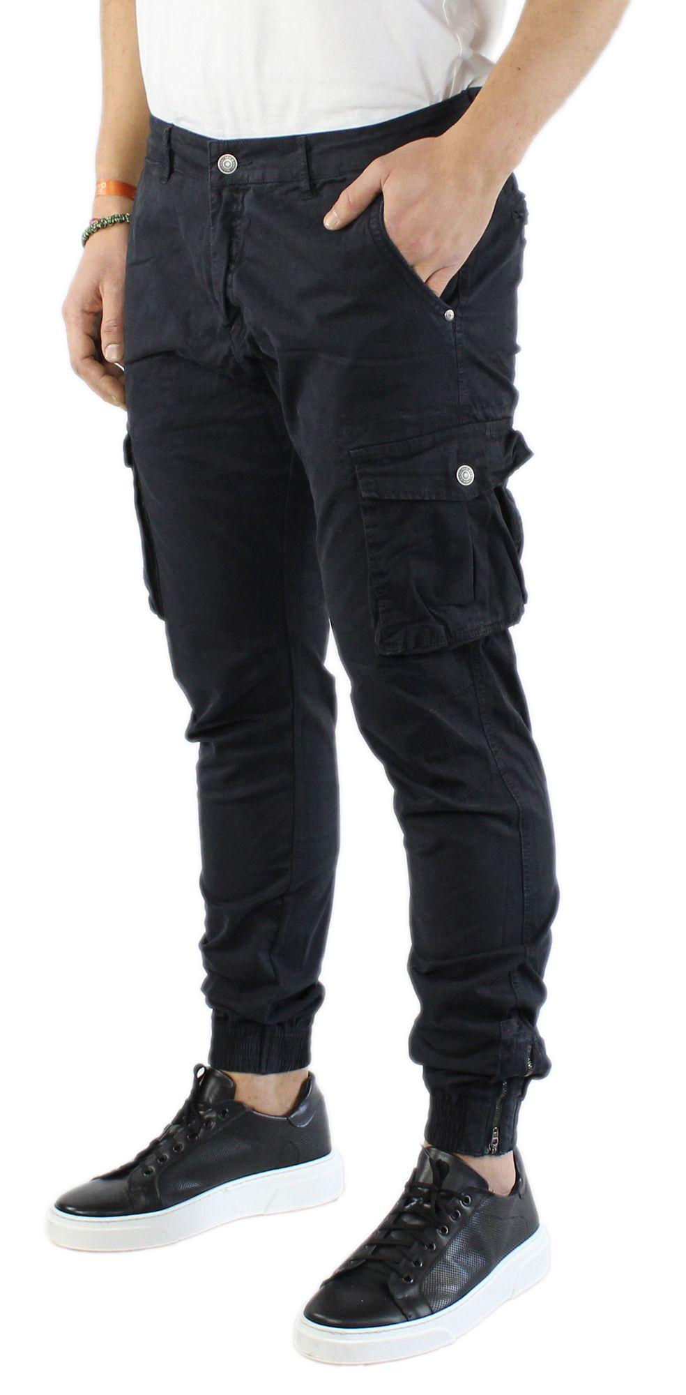 Pantaloni-Uomo-Cargo-in-Cotone-Pantalone-Tasconi-Laterali-Slim-Fit-Leggero miniatura 4