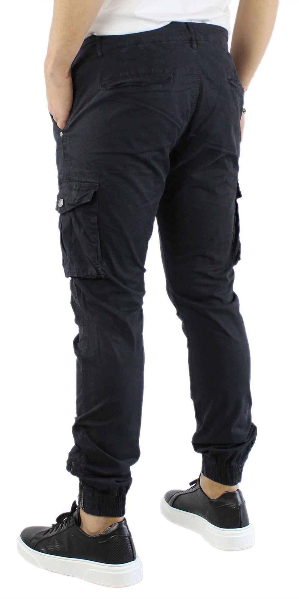 Pantaloni-Uomo-Cargo-in-Cotone-Pantalone-Tasconi-Laterali-Slim-Fit-Leggero miniatura 5