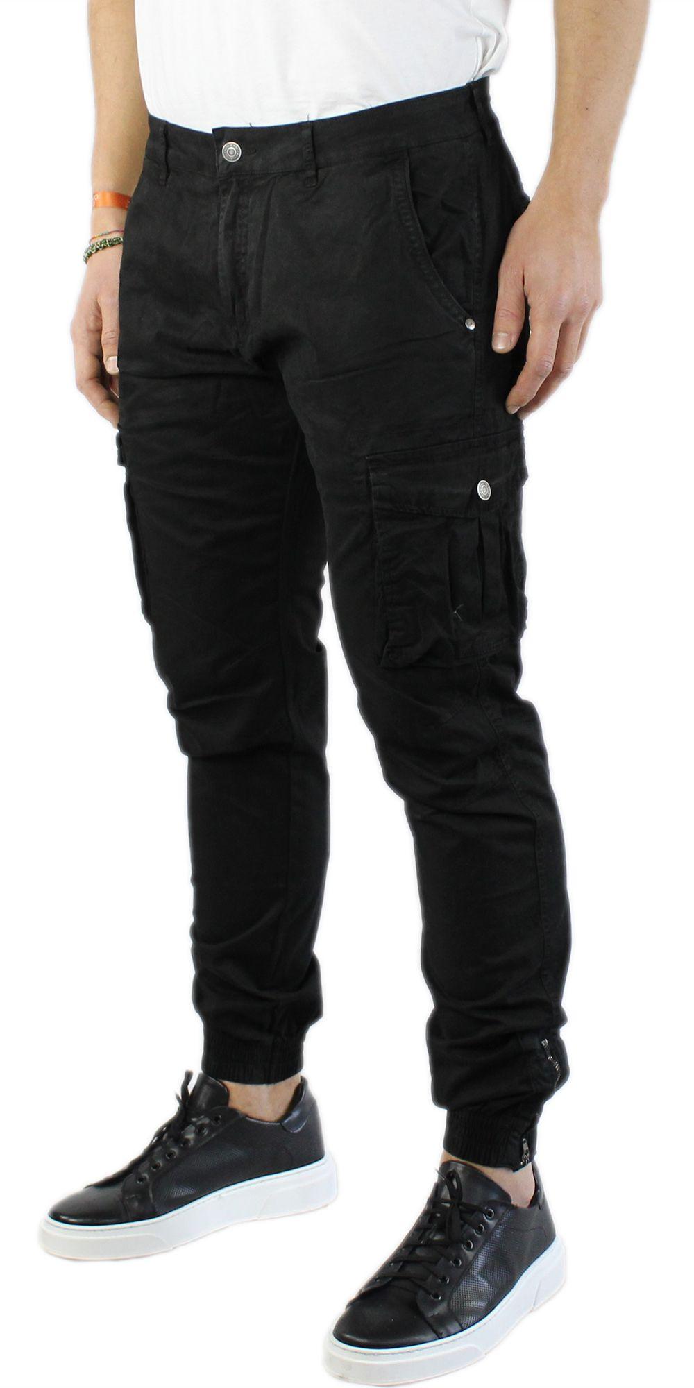 Pantaloni-Uomo-Cargo-in-Cotone-Pantalone-Tasconi-Laterali-Slim-Fit-Leggero miniatura 11