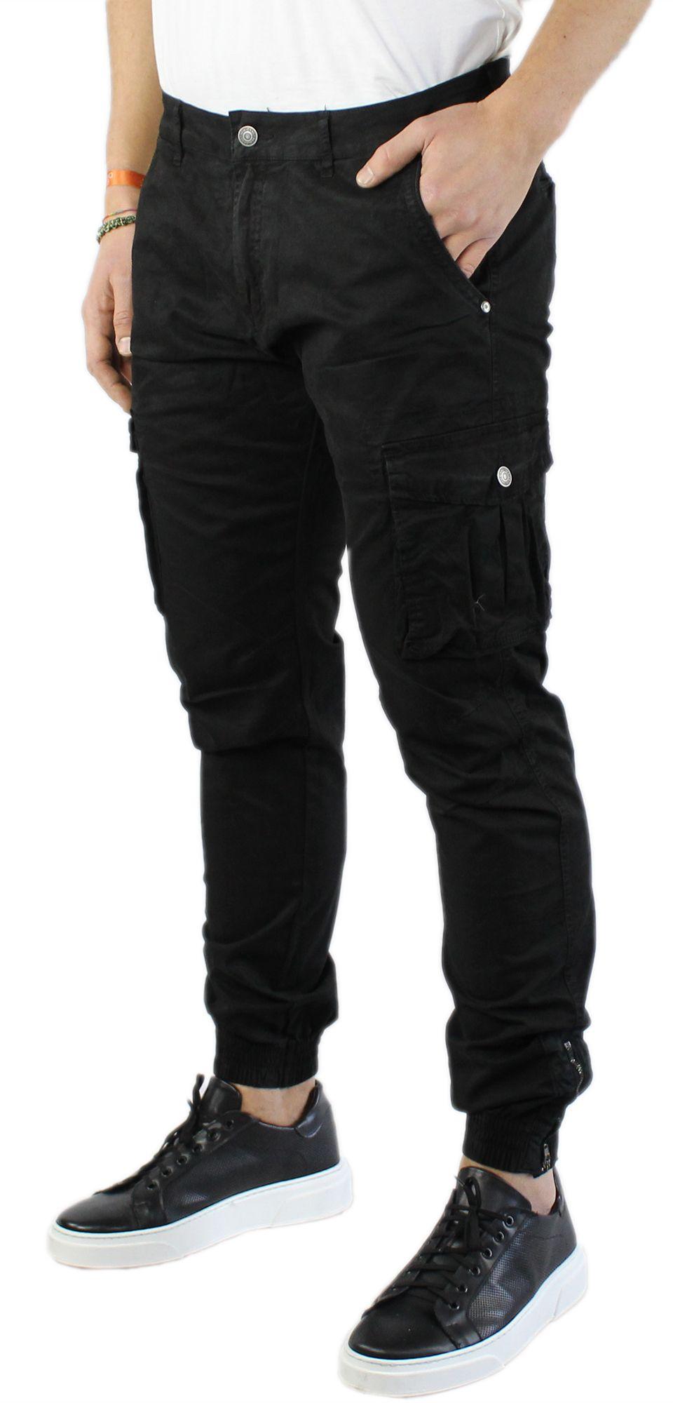 Pantaloni-Uomo-Cargo-in-Cotone-Pantalone-Tasconi-Laterali-Slim-Fit-Leggero miniatura 12