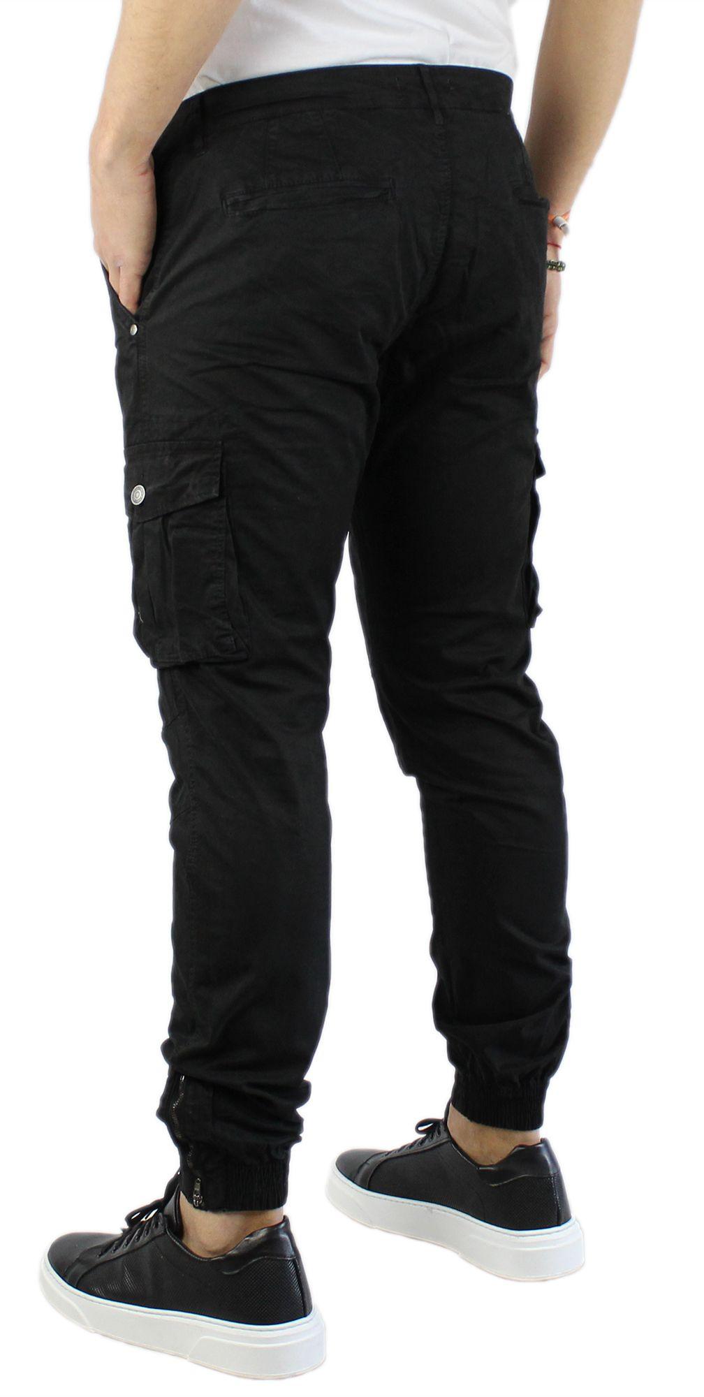 Pantaloni-Uomo-Cargo-in-Cotone-Pantalone-Tasconi-Laterali-Slim-Fit-Leggero miniatura 13