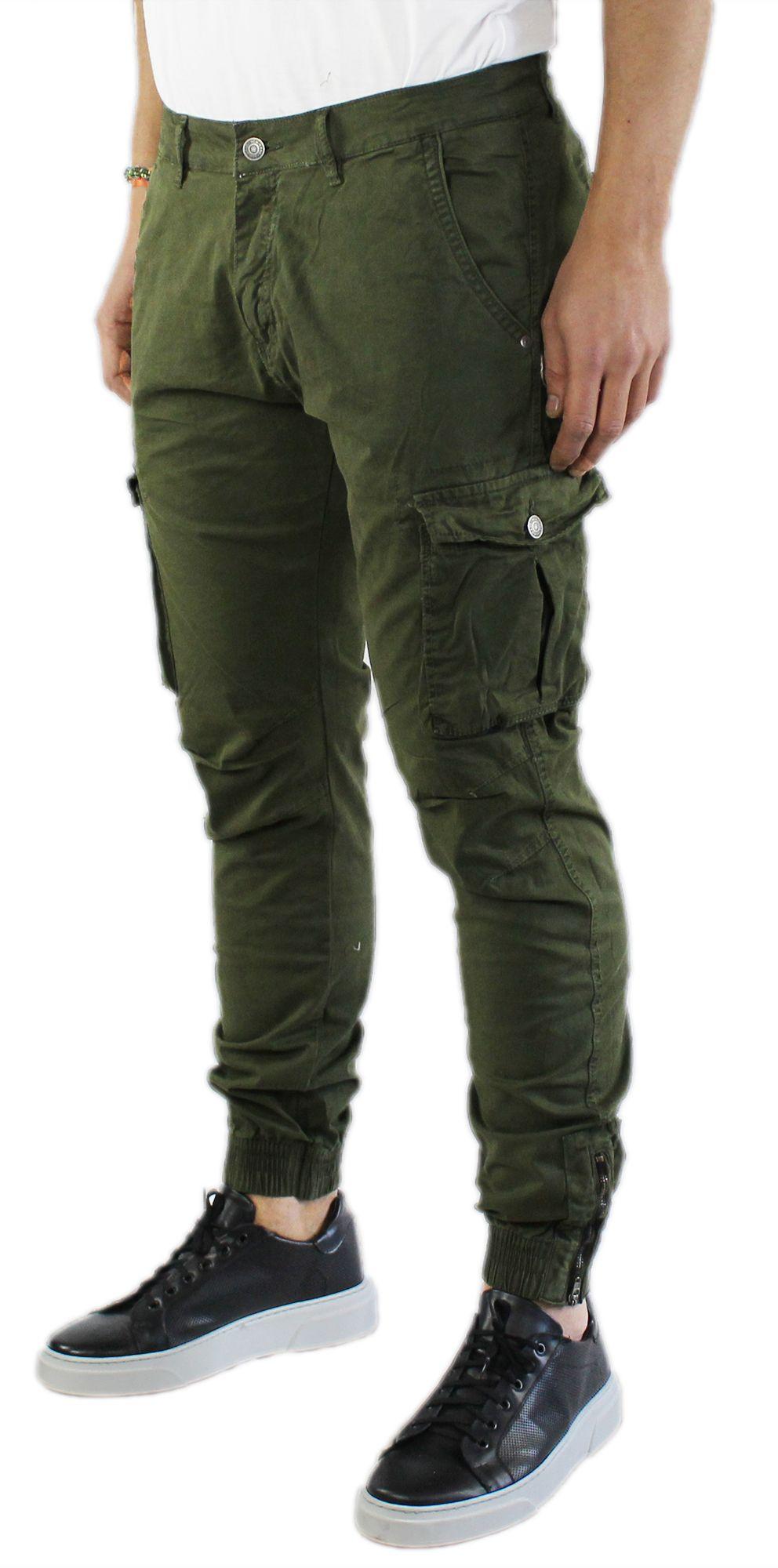 Pantaloni-Uomo-Cargo-in-Cotone-Pantalone-Tasconi-Laterali-Slim-Fit-Leggero miniatura 7
