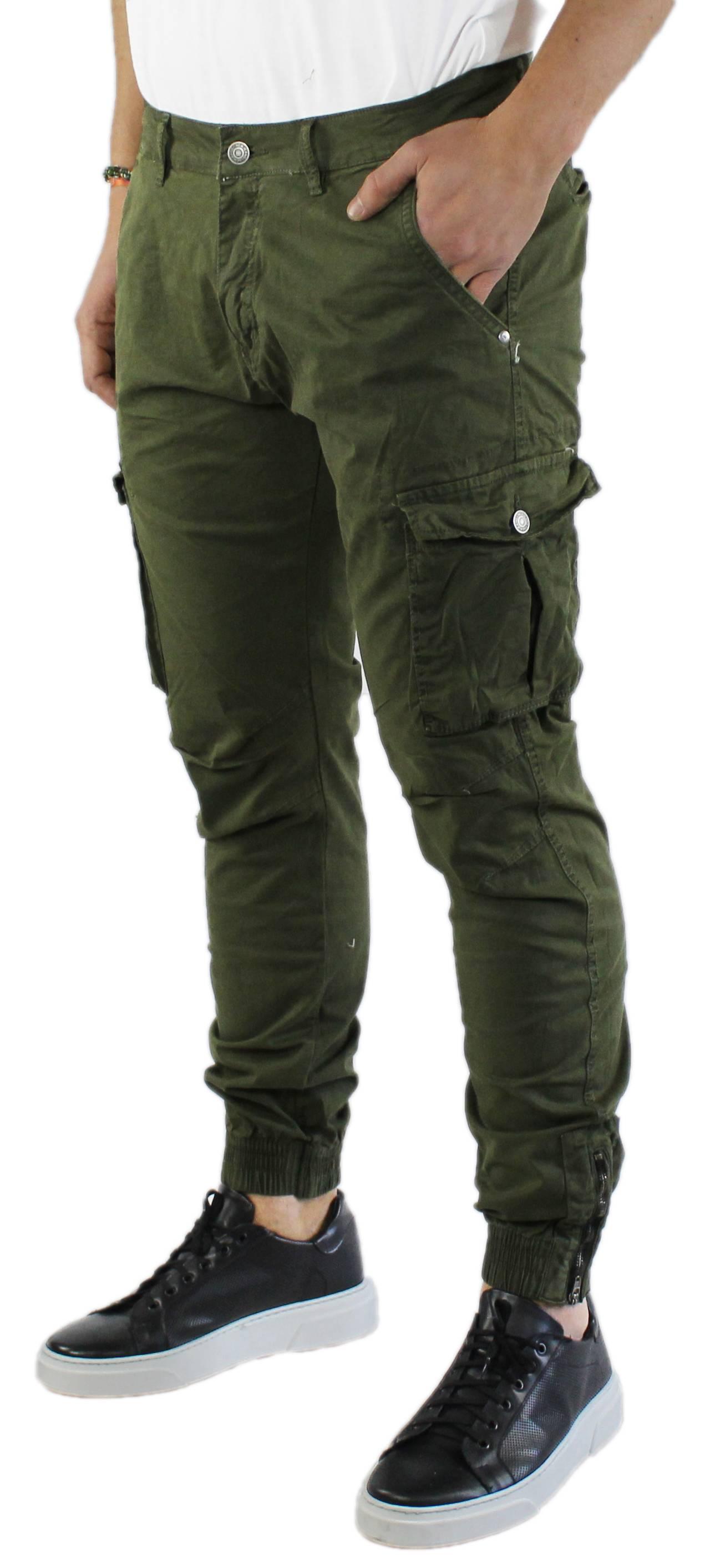 Pantaloni-Uomo-Cargo-in-Cotone-Pantalone-Tasconi-Laterali-Slim-Fit-Leggero miniatura 8