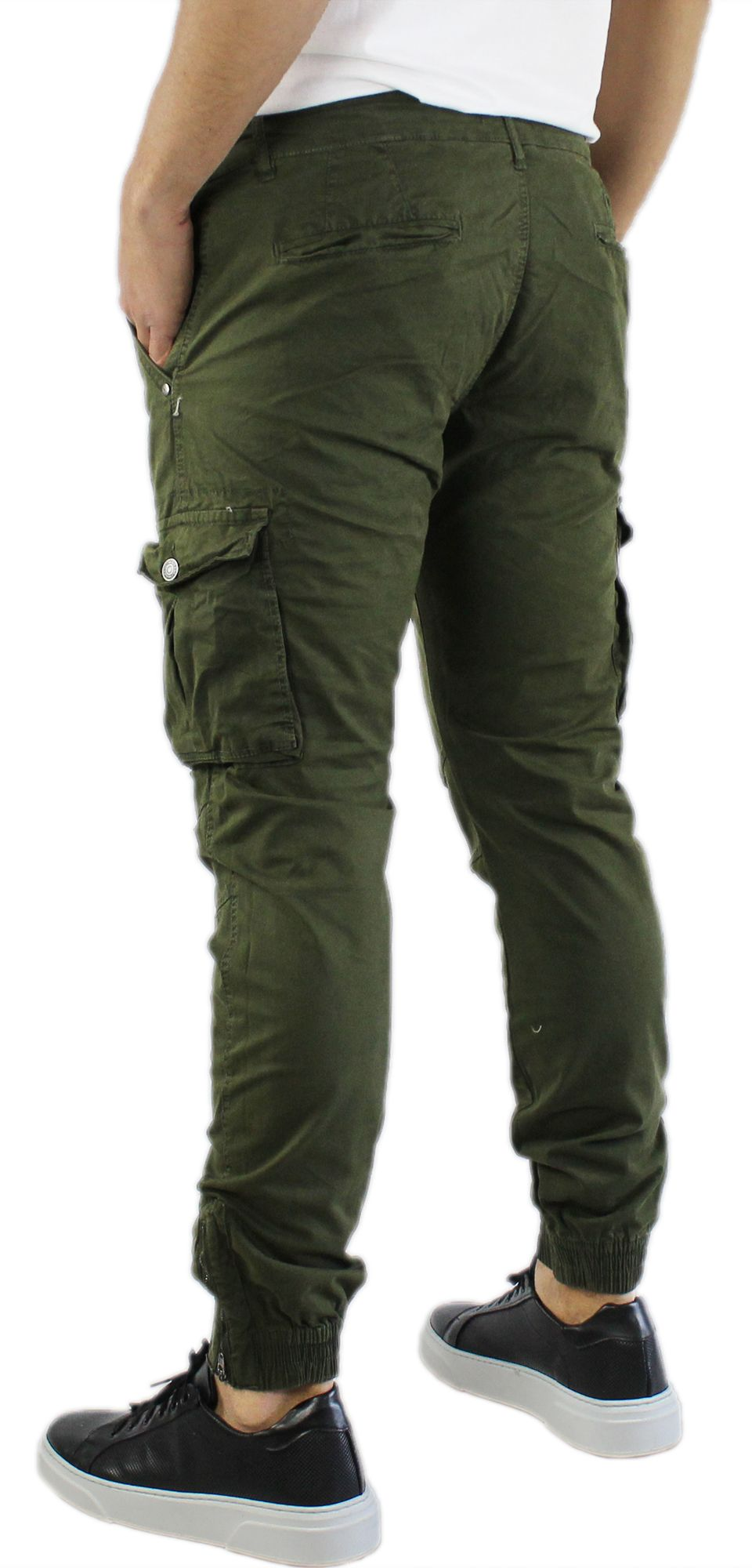 Pantaloni-Uomo-Cargo-in-Cotone-Pantalone-Tasconi-Laterali-Slim-Fit-Leggero miniatura 9