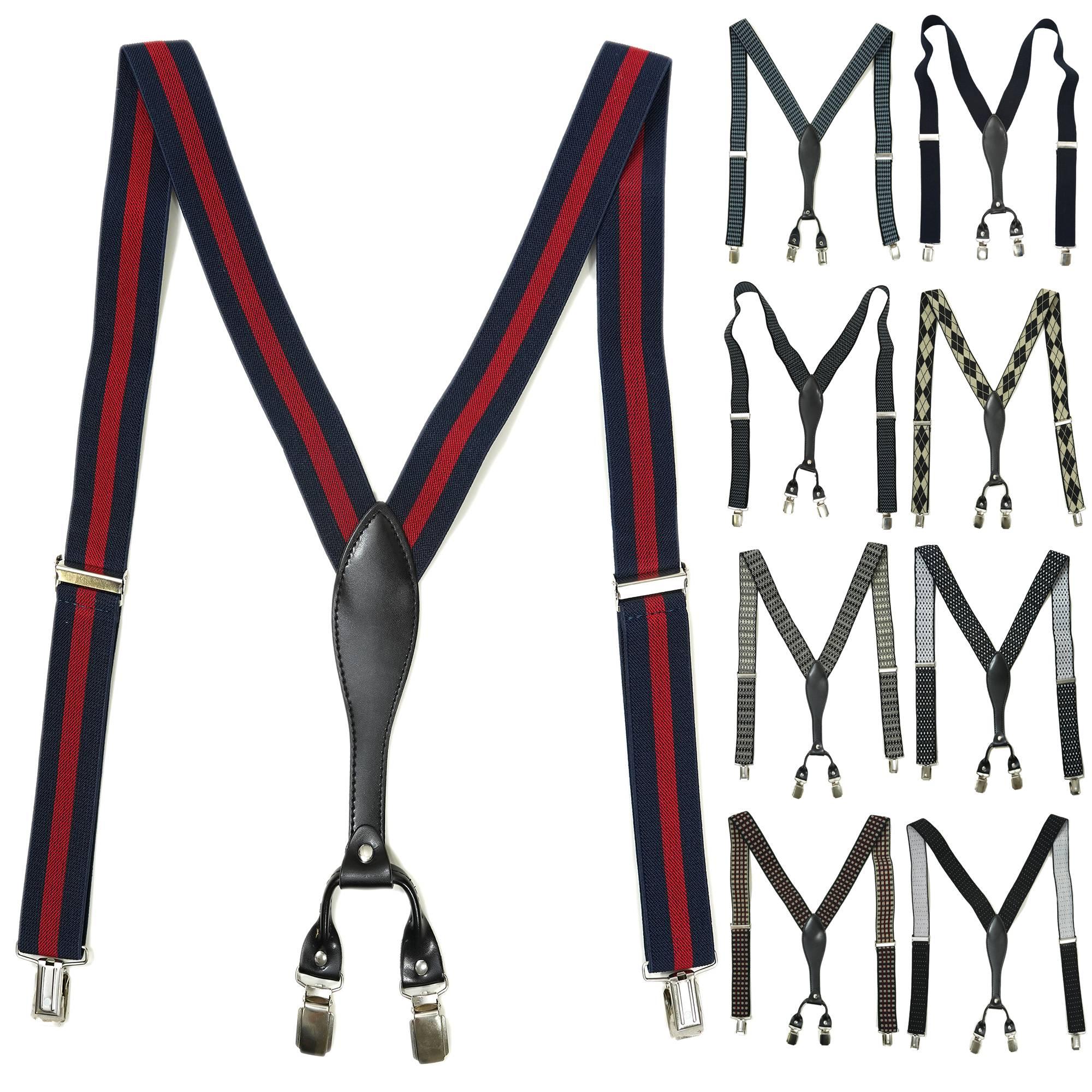 Bretelle da uomo elastiche larghezza 25 mm regolabili con clip extra forti