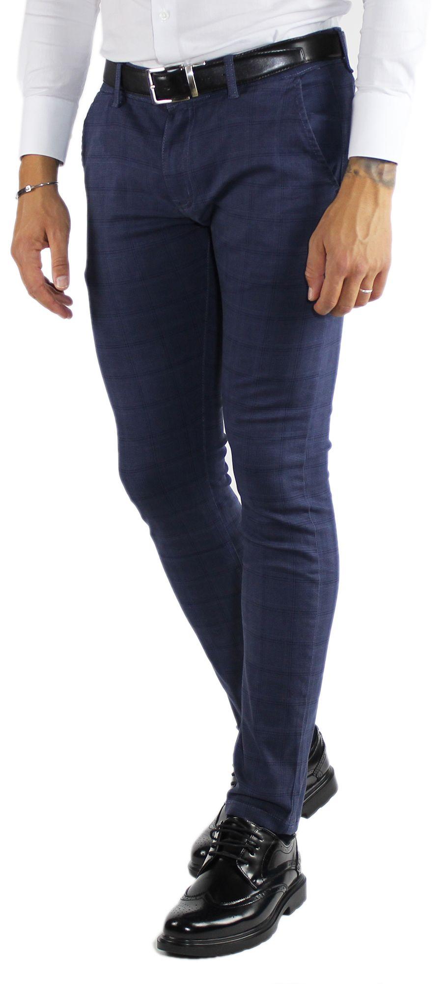 Pantaloni-Uomo-Invernali-a-Quadri-Eleganti-Pantalone-Slim-Fit-Elasticizzati-Scoz miniatura 13