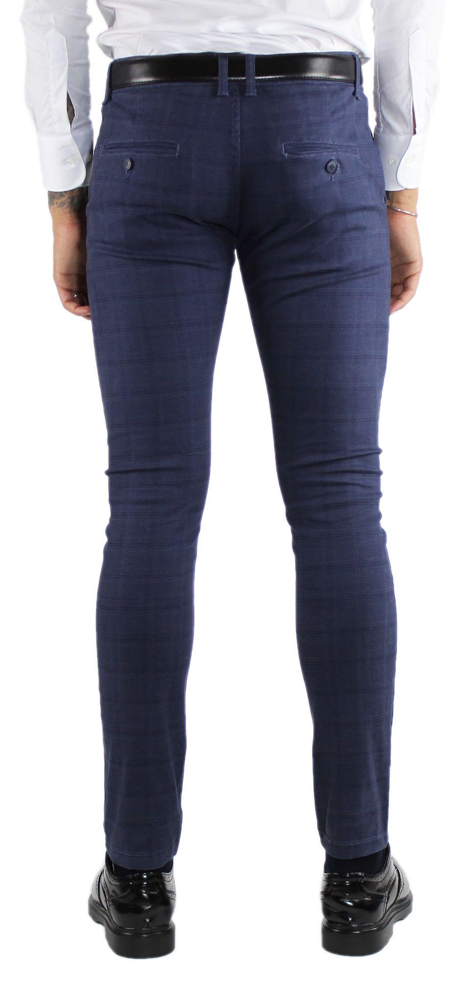 Pantaloni-Uomo-Invernali-a-Quadri-Eleganti-Pantalone-Slim-Fit-Elasticizzati-Scoz miniatura 14