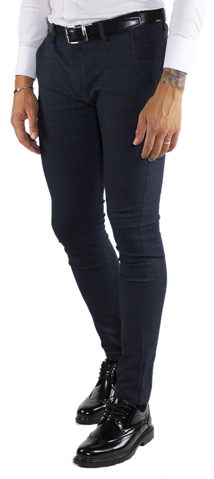Pantaloni-Uomo-Invernali-a-Quadri-Eleganti-Pantalone-Slim-Fit-Elasticizzati-Scoz miniatura 7