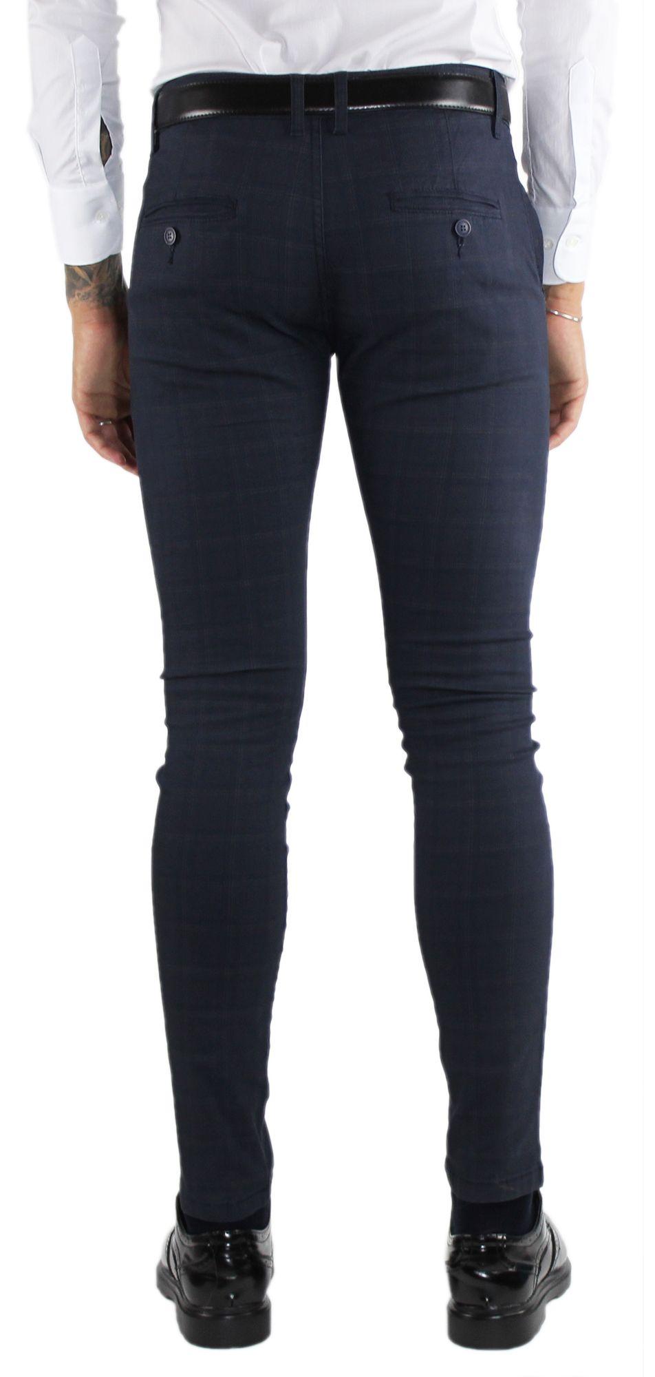 Pantaloni-Uomo-Invernali-a-Quadri-Eleganti-Pantalone-Slim-Fit-Elasticizzati-Scoz miniatura 8