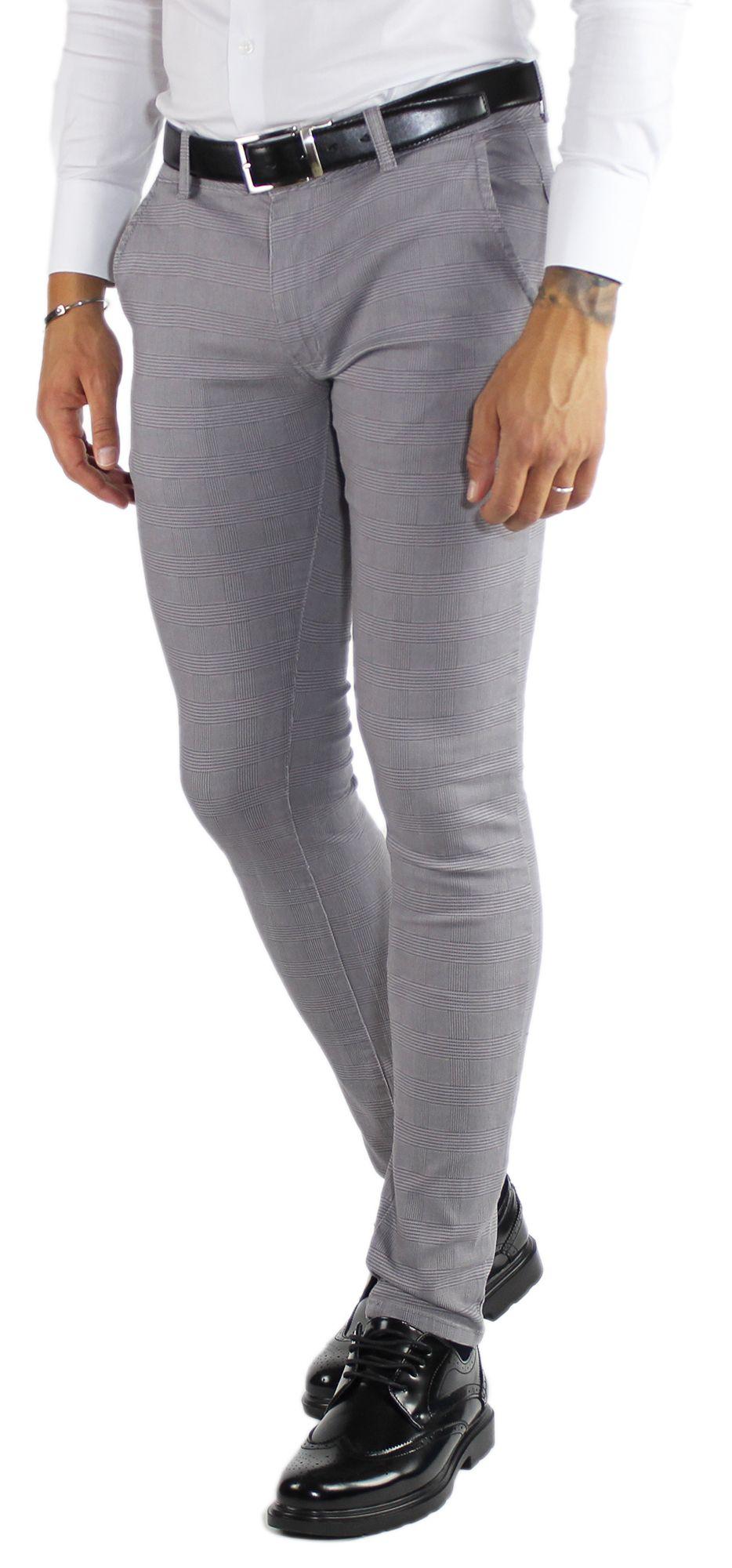 Pantaloni-Uomo-Invernali-a-Quadri-Eleganti-Pantalone-Slim-Fit-Elasticizzati-Scoz miniatura 4
