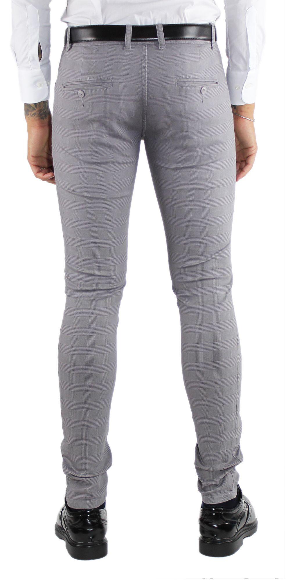 Pantaloni-Uomo-Invernali-a-Quadri-Eleganti-Pantalone-Slim-Fit-Elasticizzati-Scoz miniatura 5