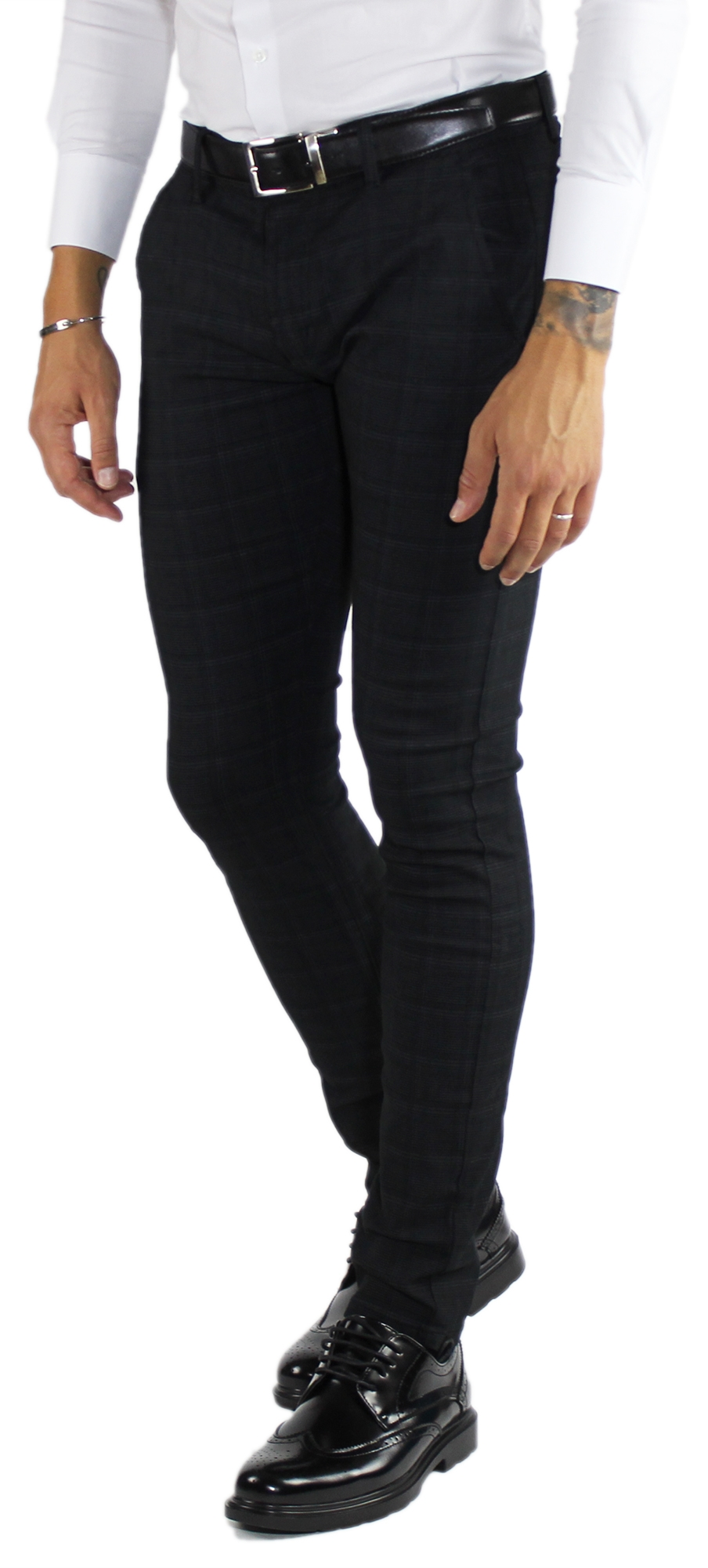 Pantaloni-Uomo-Invernali-a-Quadri-Eleganti-Pantalone-Slim-Fit-Elasticizzati-Scoz miniatura 10
