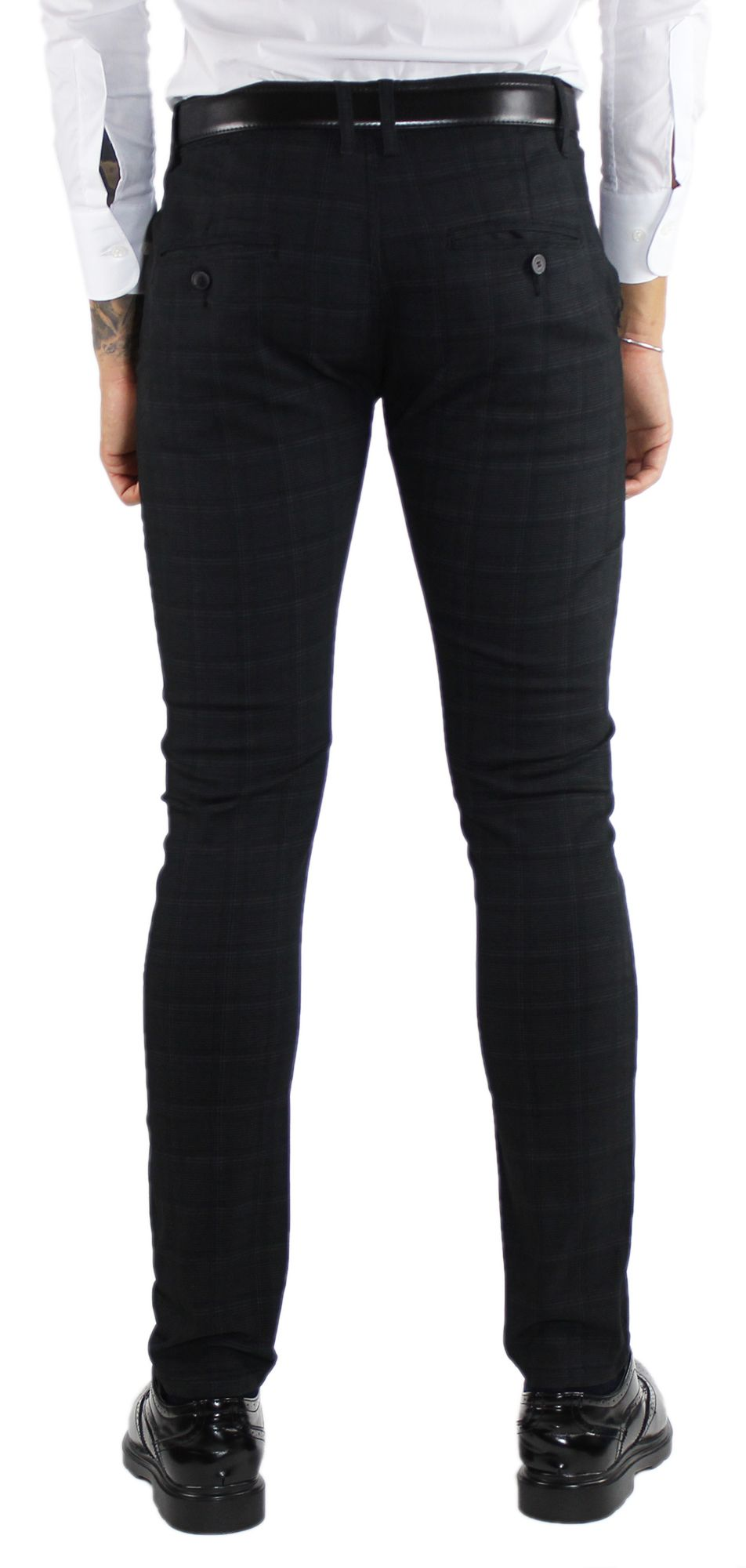 Pantaloni-Uomo-Invernali-a-Quadri-Eleganti-Pantalone-Slim-Fit-Elasticizzati-Scoz miniatura 11